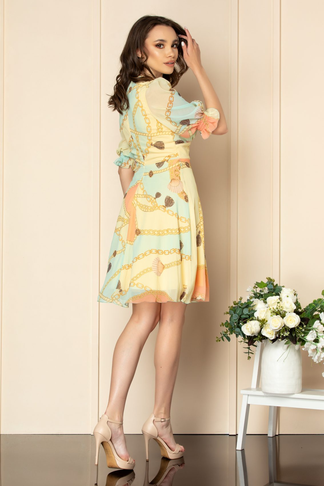 Κίτρινο Εμπριμέ Κοντομάνικο Φόρεμα Fabia A556 2