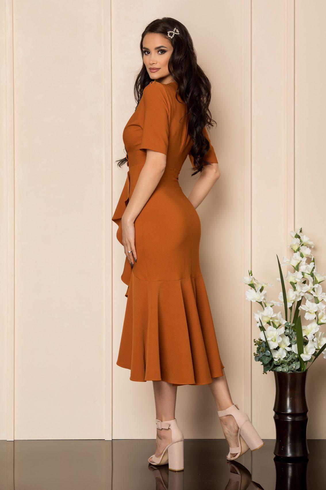 Κεραμιδί Μίντι Φόρεμα Με Βολάν Malya A407 2