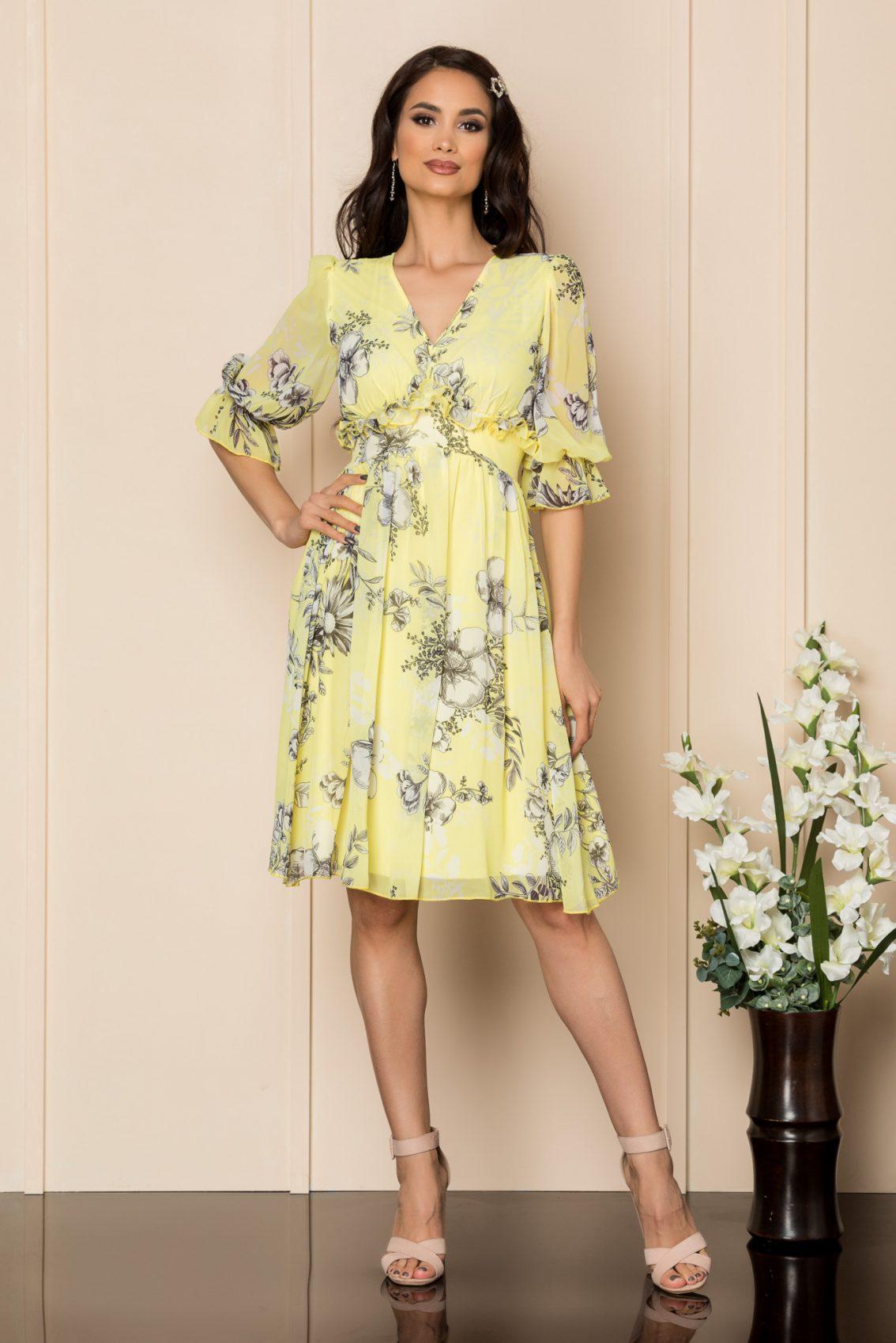 Κίτρινο Φλοράλ Φόρεμα Με Βολάν Floris A395 1