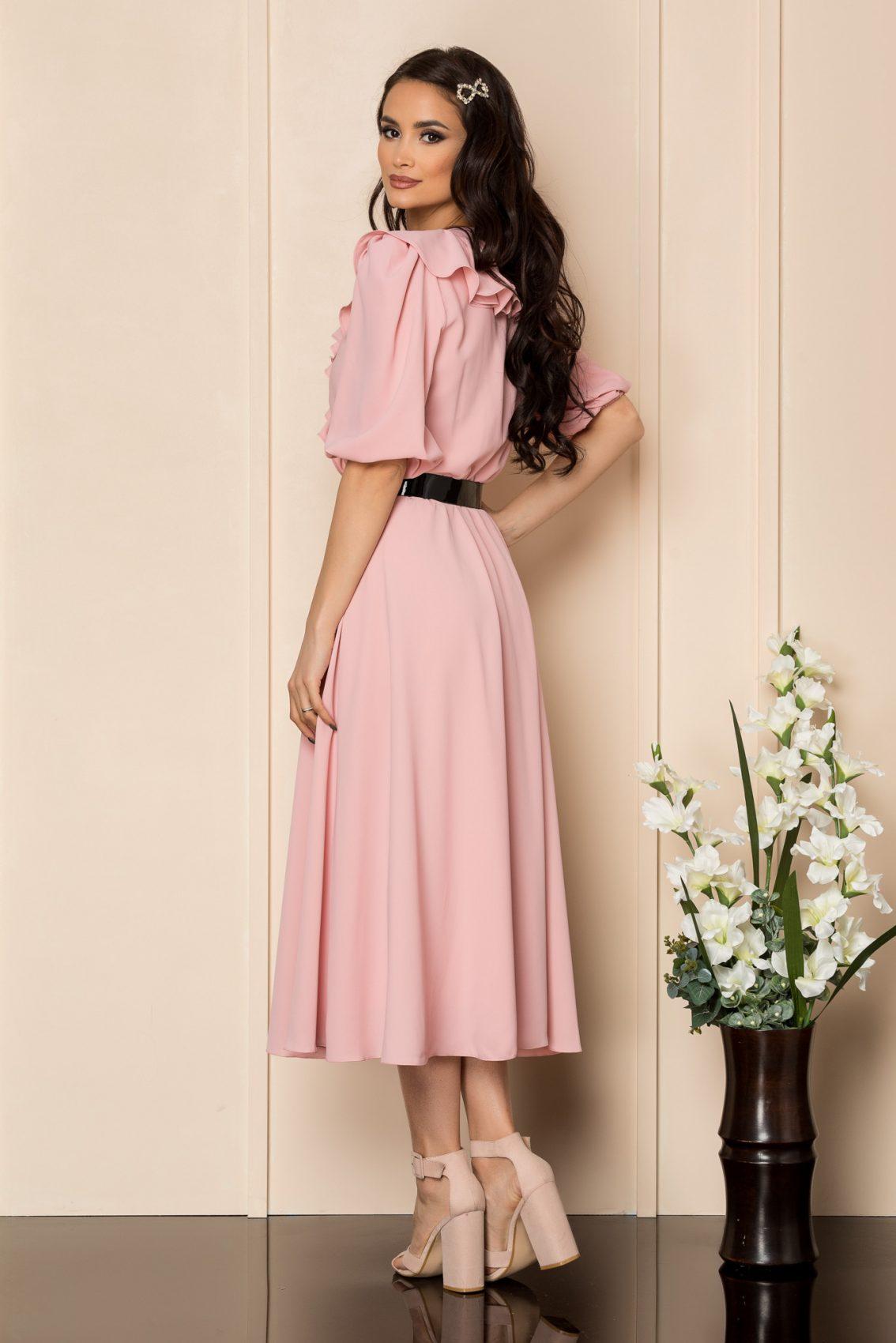 Ροζ Μίντι Φόρεμα Με Βολάν Chabela A411 2