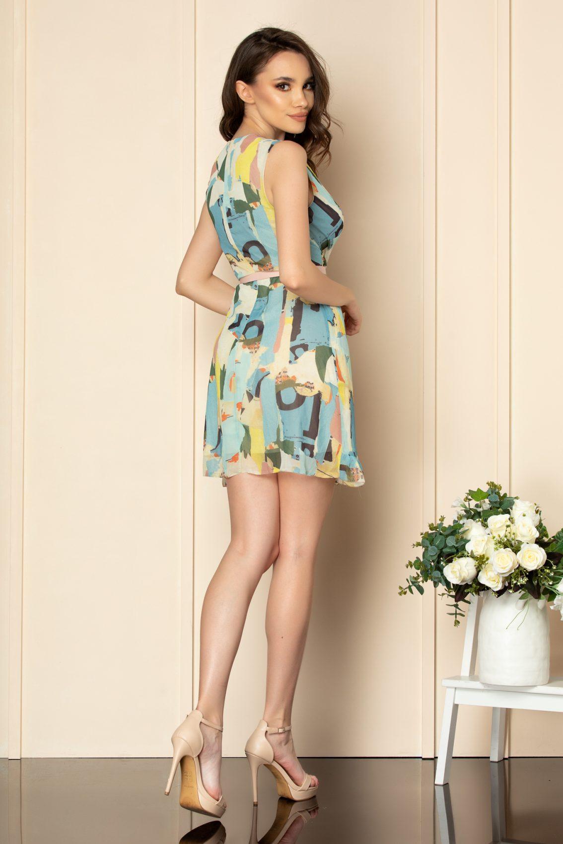 Μπλε Εμπριμέ Μίνι Φόρεμα Anelise A514 2