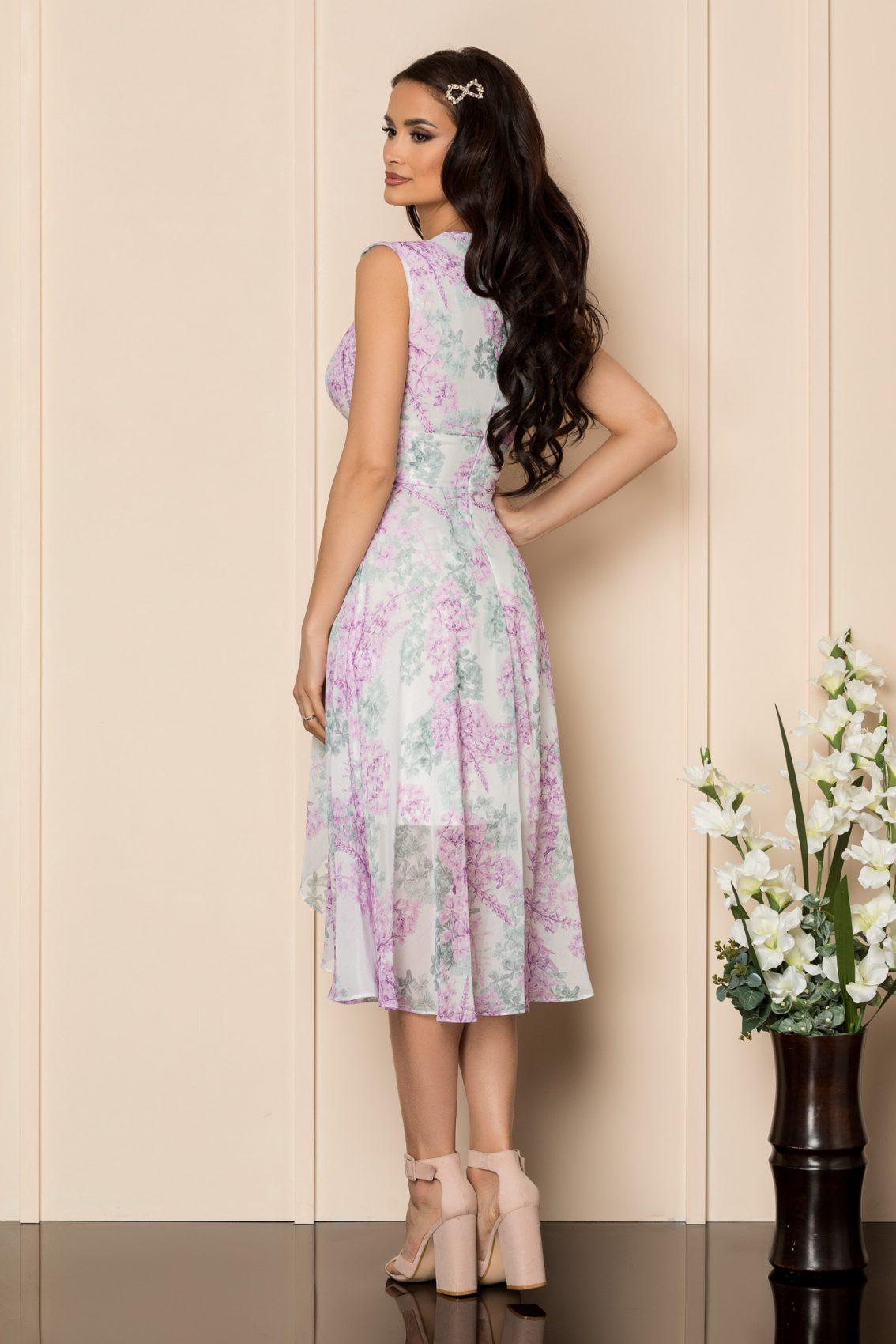 Λιλά Φλοράλ Μίντι Αμάνικο Φόρεμα Kaytlin A337 2