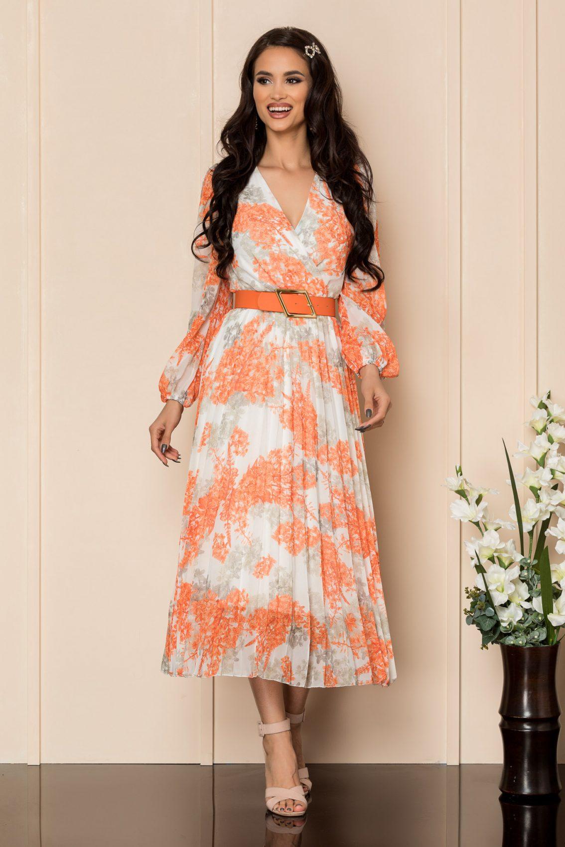 Πορτοκαλί Μίντι Πλισέ Φόρεμα Ingrid A310 1
