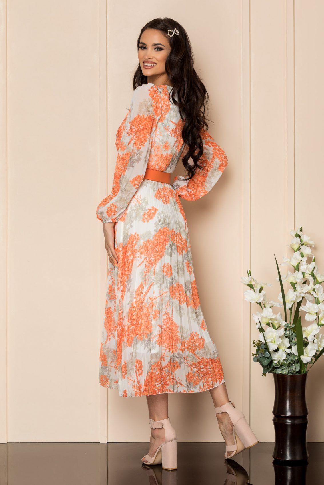 Πορτοκαλί Μίντι Πλισέ Φόρεμα Ingrid A310 2