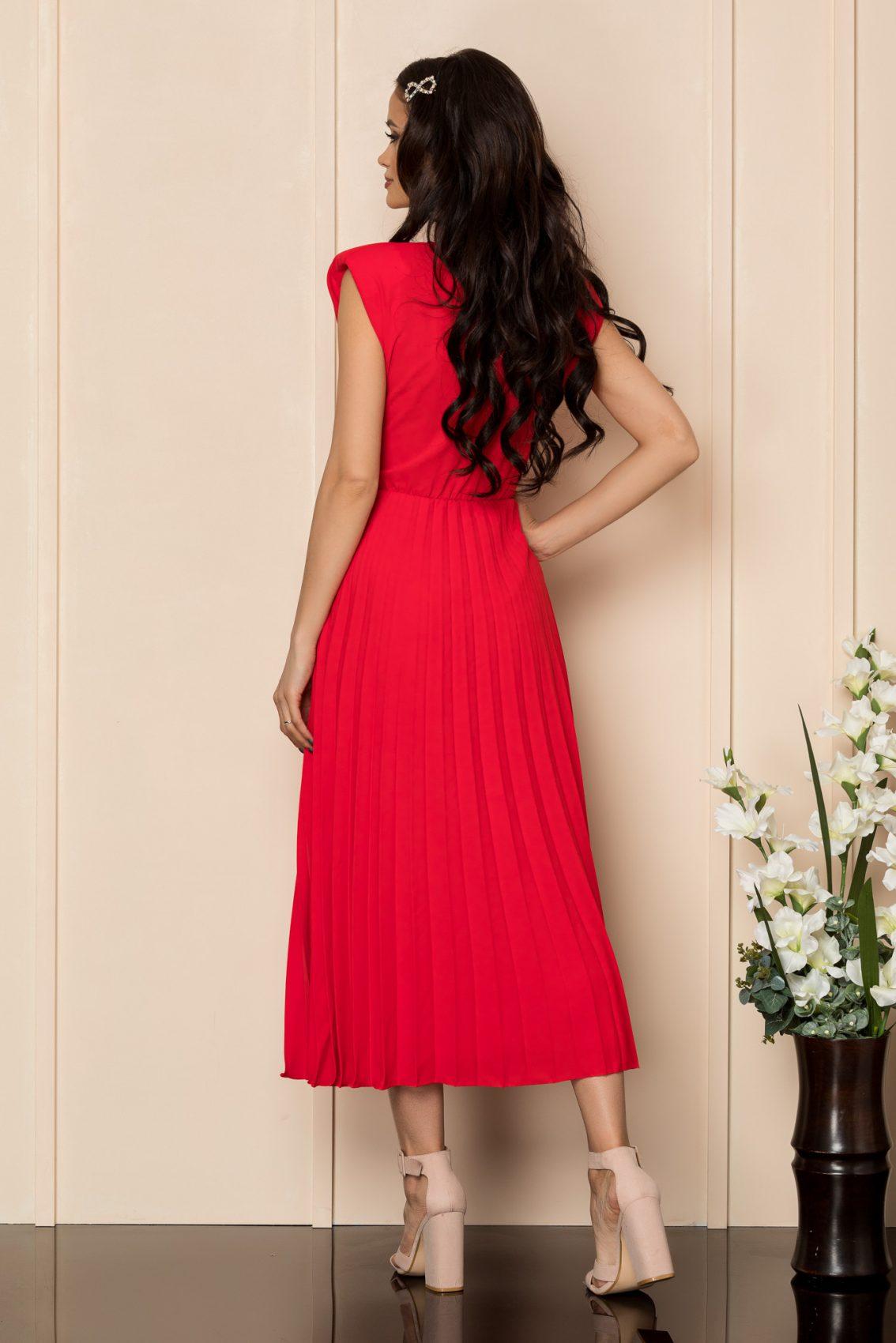 Κόκκινο Μίντι Φόρεμα Με Βάτες Carmen A406 2