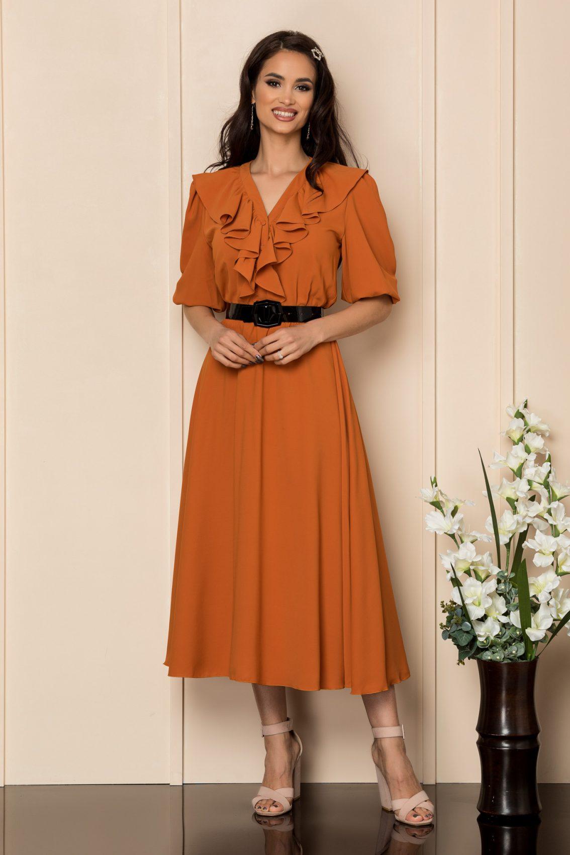 Κεραμιδί Μίντι Φόρεμα Με Βολάν Chabela A409 1