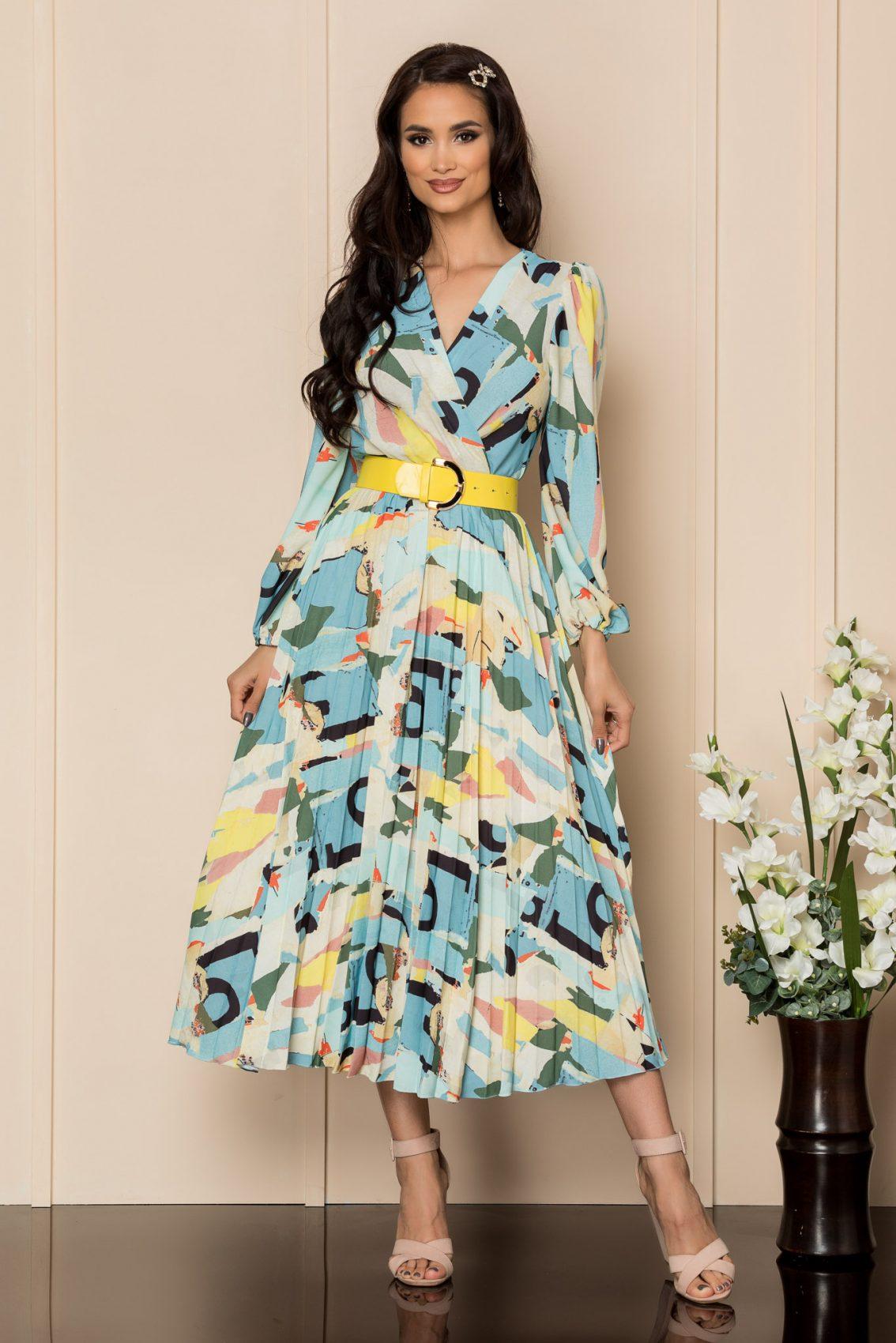 Εμπριμέ Φόρεμα Με Κίτρινη Ζώνη Malina A336 1
