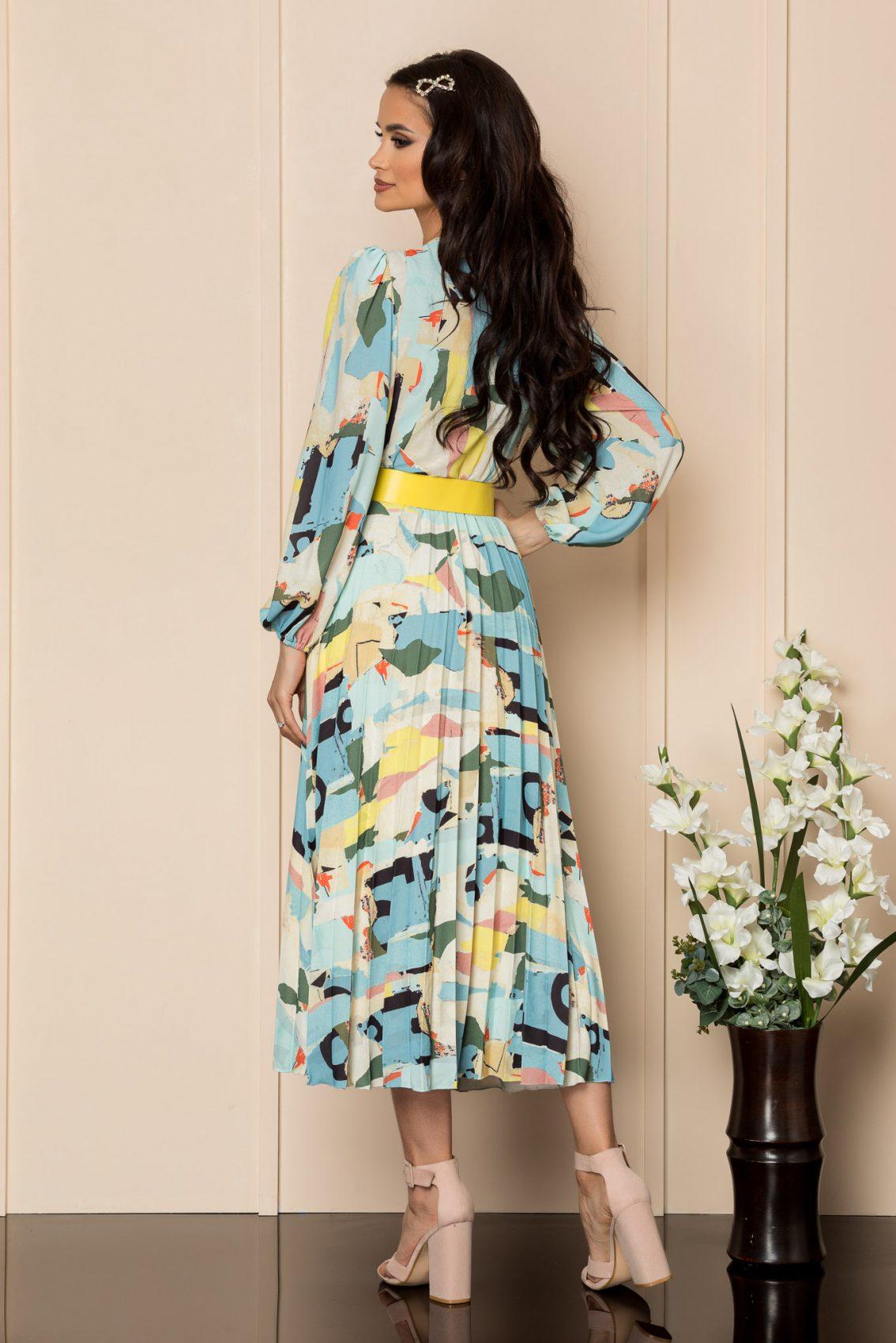 Εμπριμέ Φόρεμα Με Κίτρινη Ζώνη Malina A336 2