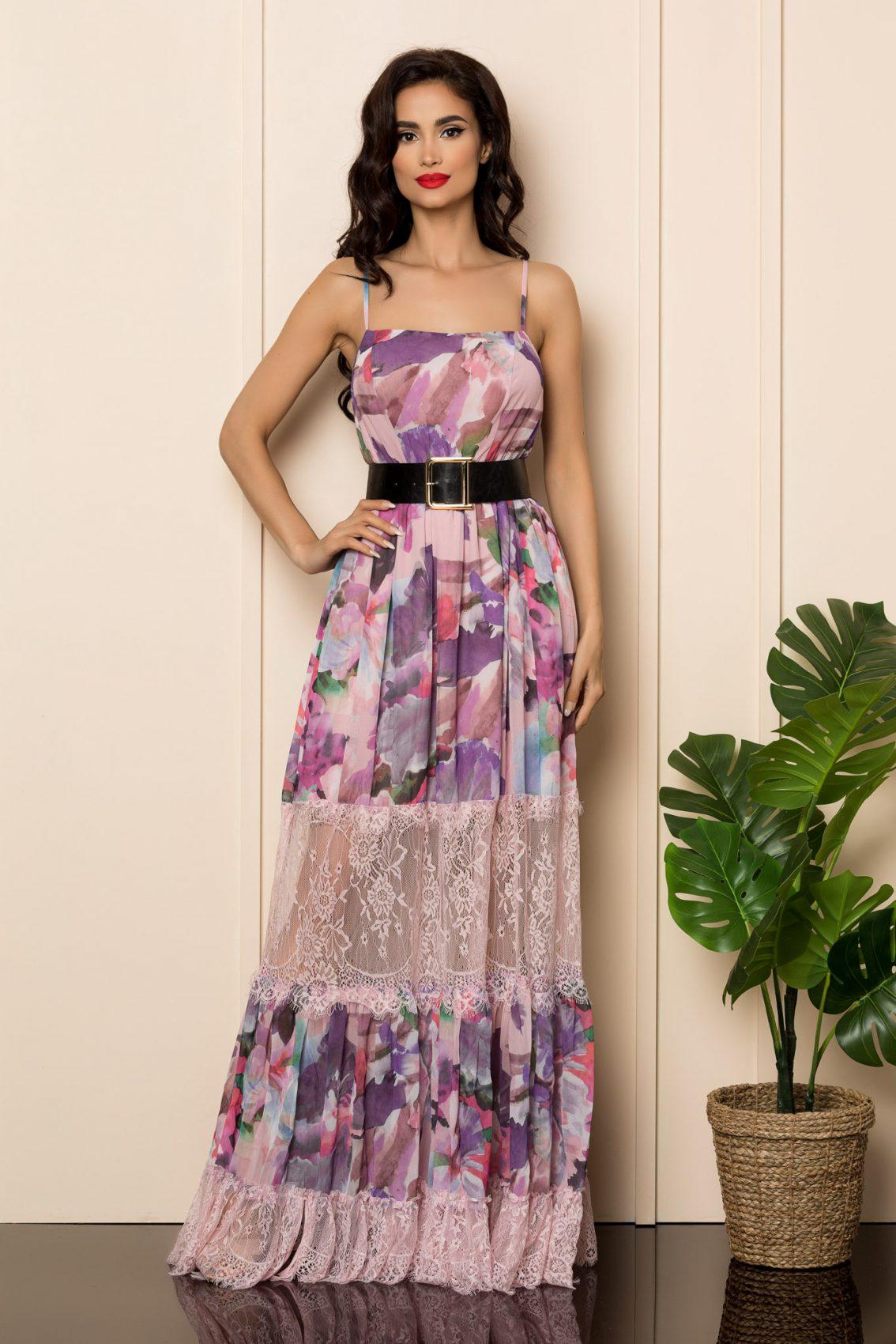 Ροζ Εμπριμέ Μάξι Φόρεμα Elysia A502 1