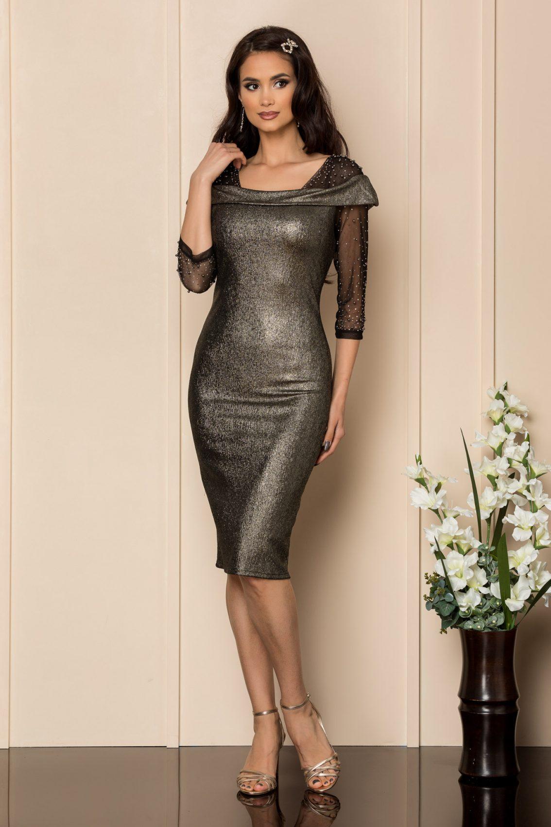 Μαύρο Μίντι Βραδινό Φόρεμα Με Πέρλες Maddie A323 1