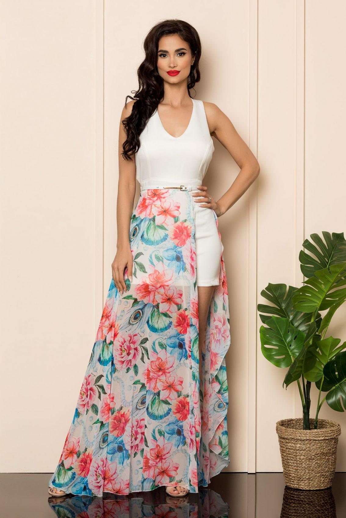 Λευκό Φλοράλ Φόρεμα Brissa A475 4