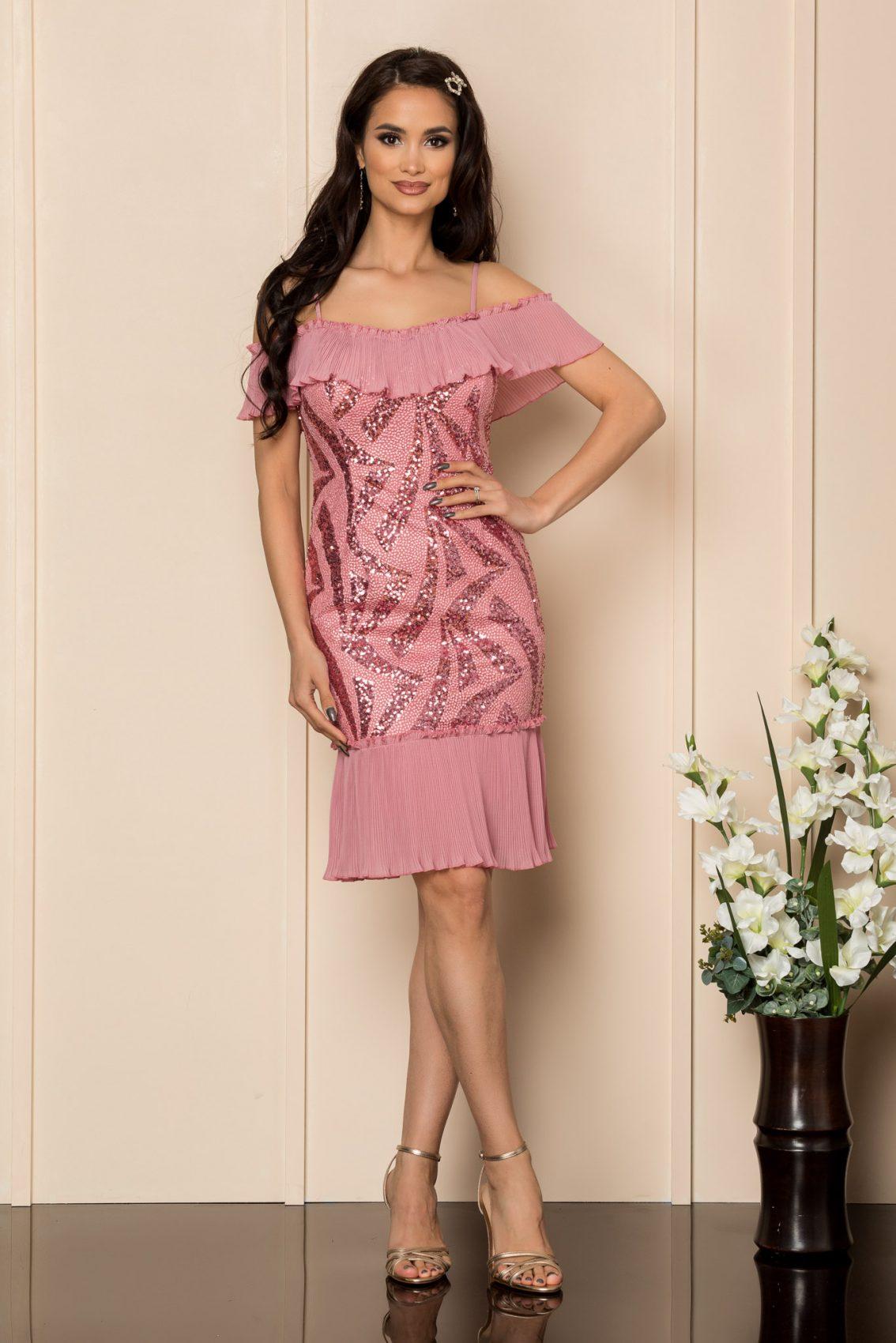 Ροζ Αμπιγιέ Φόρεμα Με Χάντρες Rosalinda A320 1