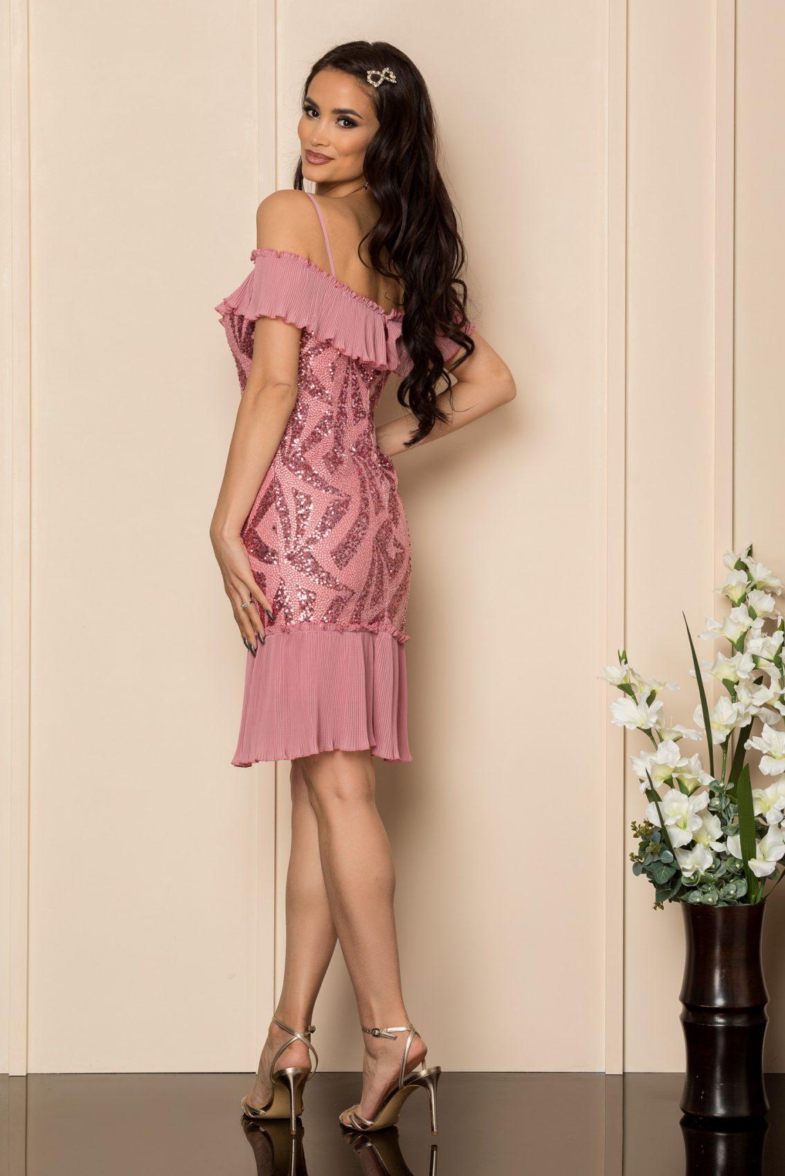 Ροζ Αμπιγιέ Φόρεμα Με Χάντρες Rosalinda A320 2