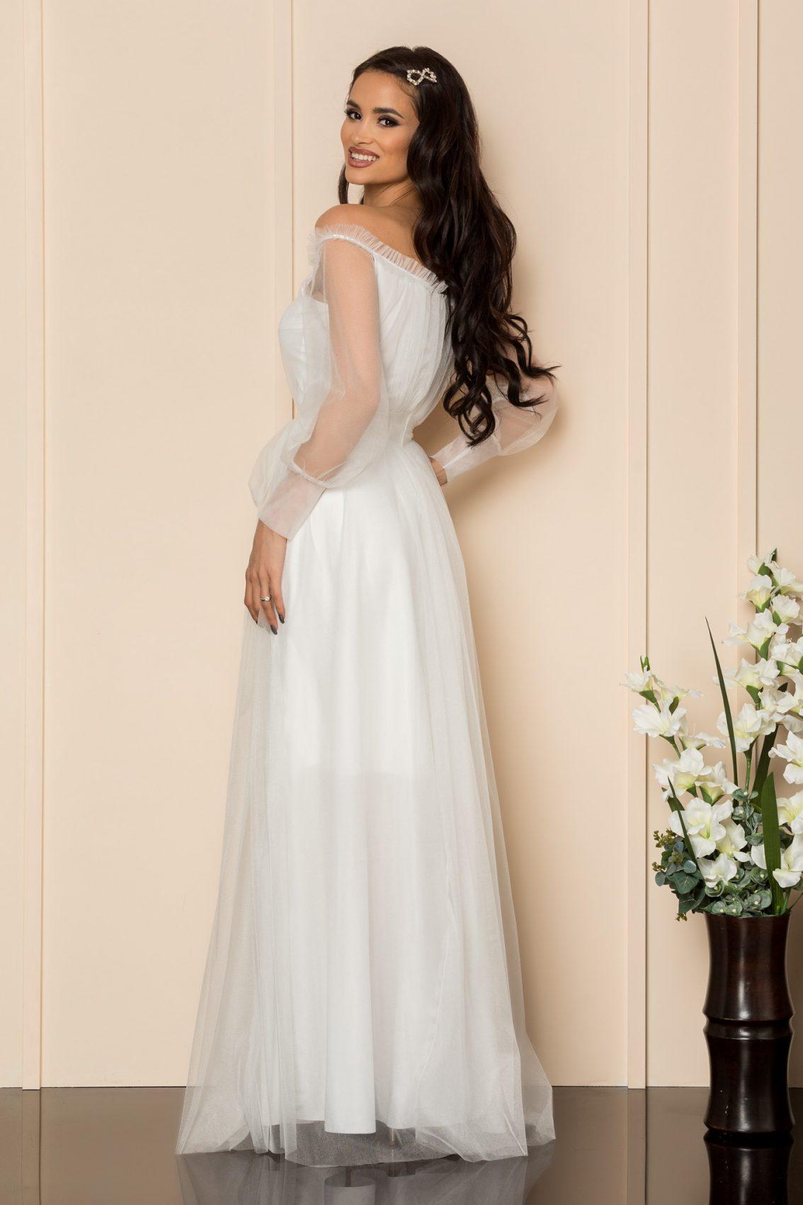 Λευκό Μάξι Αμπιγιέ Φόρεμα Temptation A304 2