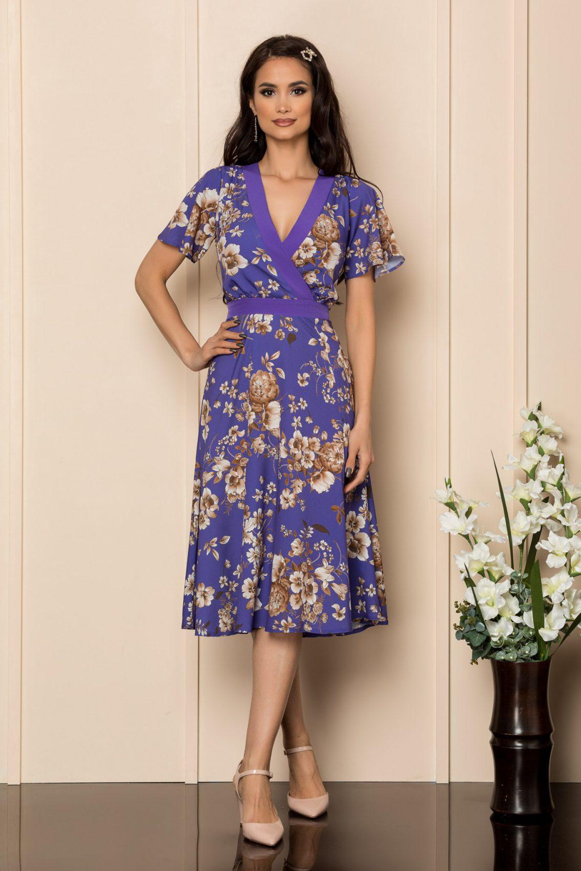 Μωβ Μίντι Κρουαζέ Φόρεμα Valeria A376 1
