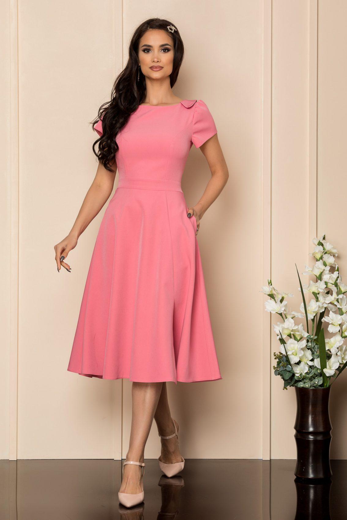 Ροζ Μίντι Κλος Φόρεμα Asha A372 1