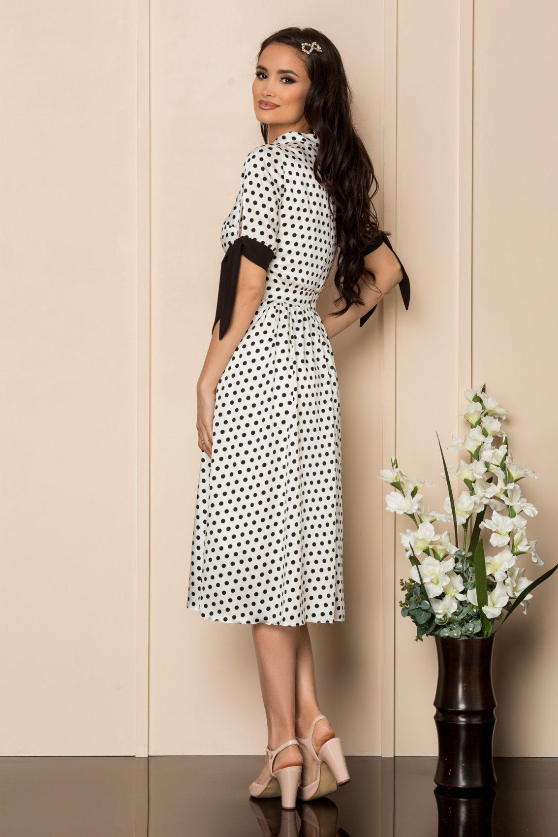 Λευκό Πουά Φόρεμα Με Φιόγκο Raluka A381 2