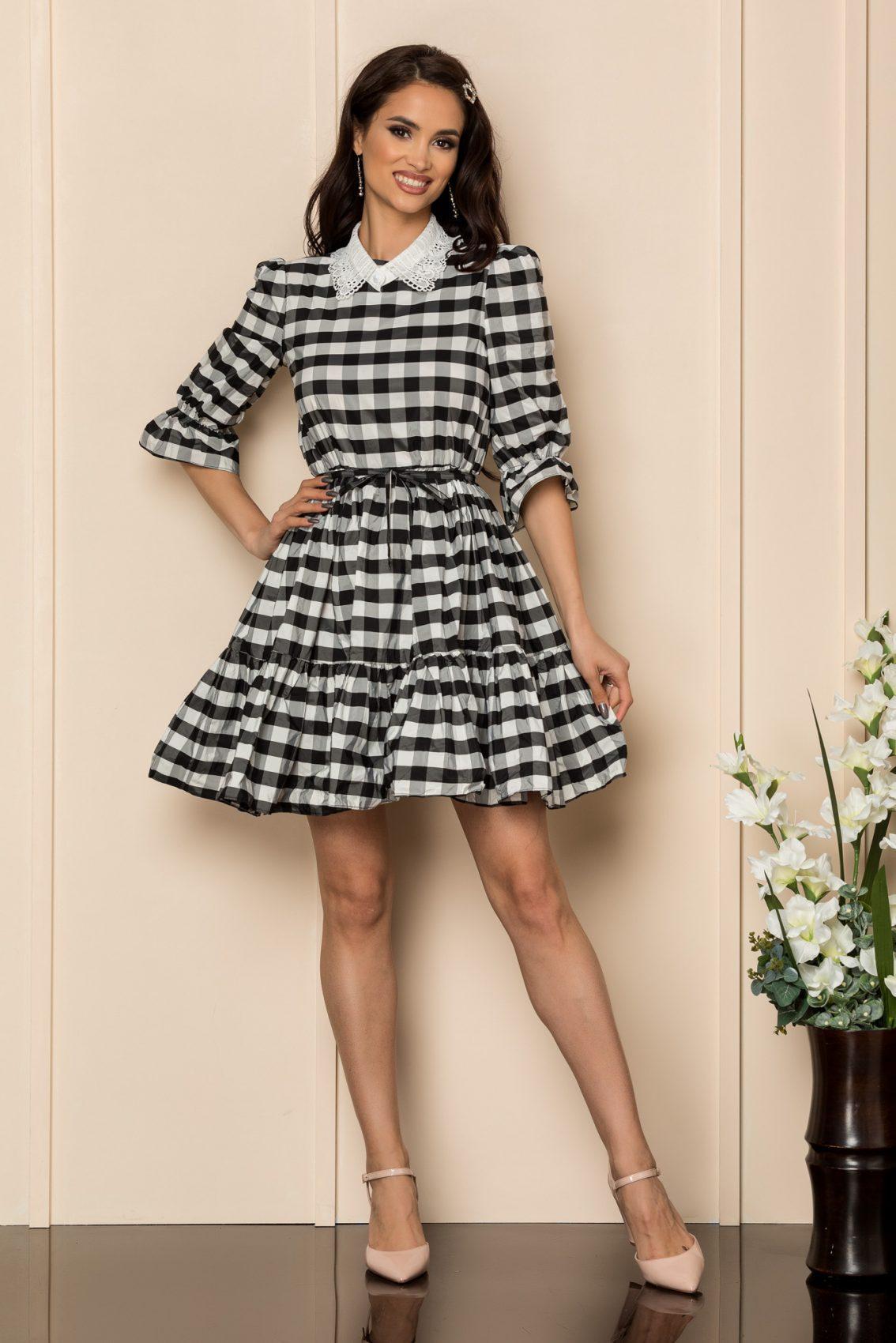 Ασπρόμαυρο Καρό Φόρεμα Cleo A339 1