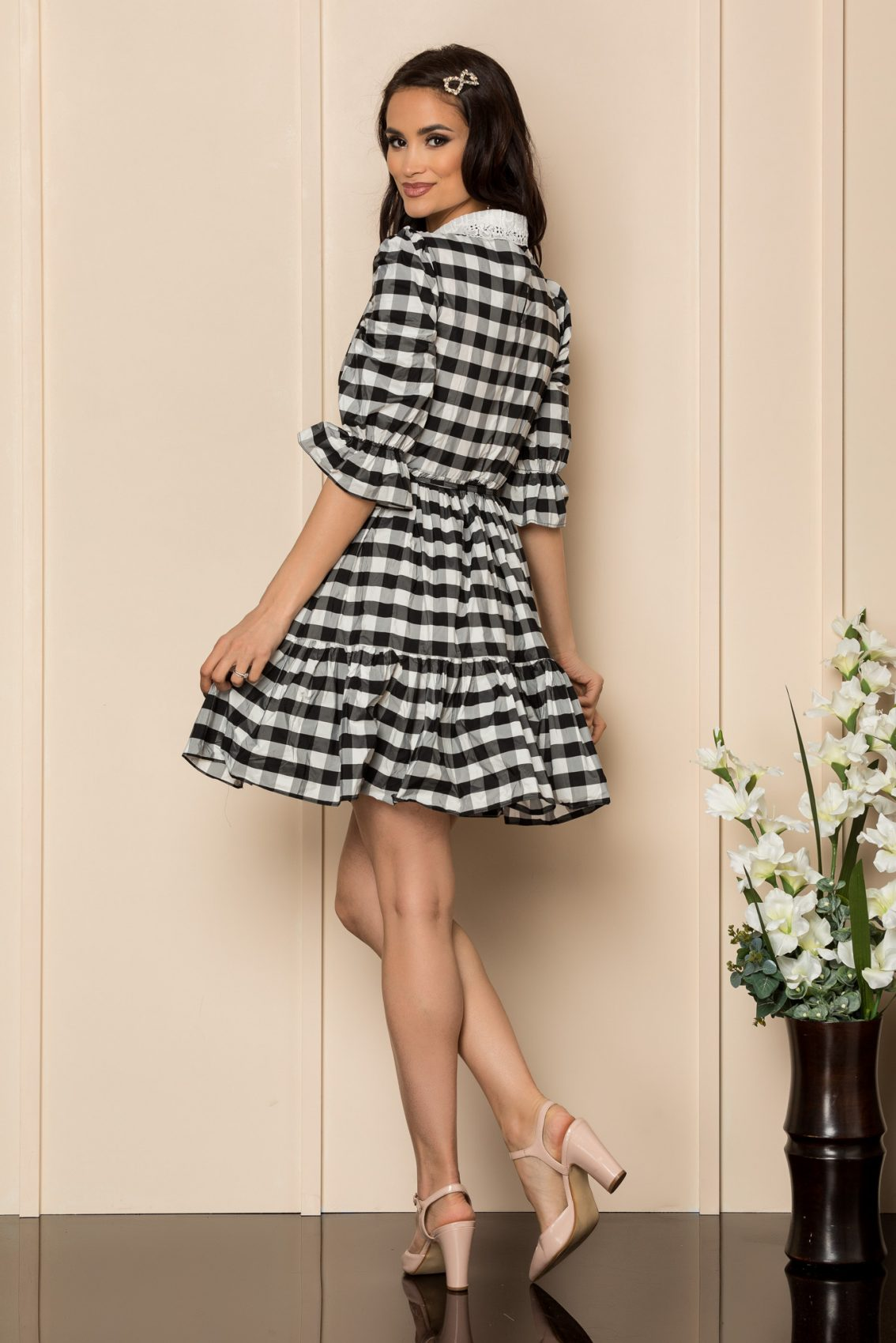 Ασπρόμαυρο Καρό Φόρεμα Cleo A339 2