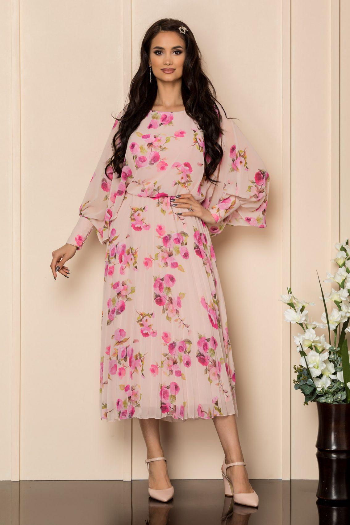 Ροζ Μίντι Φλοράλ Φόρεμα Angy A412 1