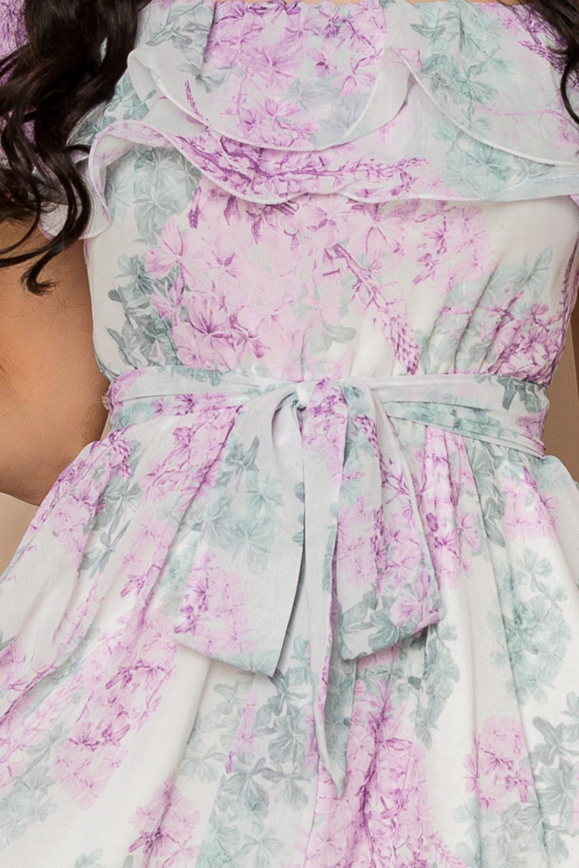 Λιλά Εμπριμέ Φόρεμα Beatrice A426 3