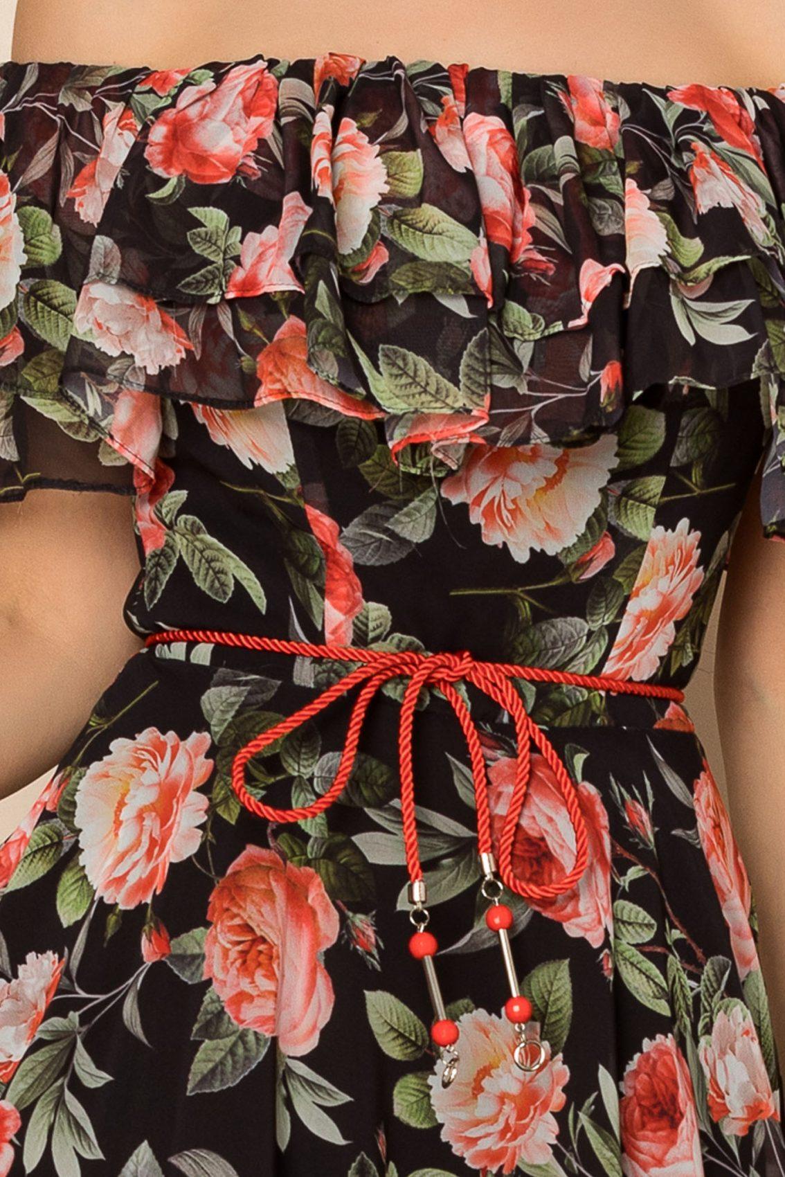 Μαύρο Φλοράλ Φόρεμα Με Βολάν Jasmine A422 3