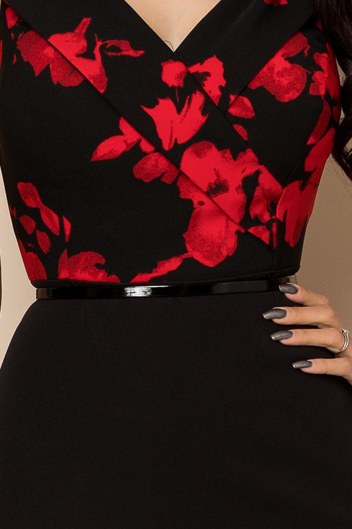 Μαύρο Φόρεμα Με Κόκκινα Λουλούδια Carlia A403 3