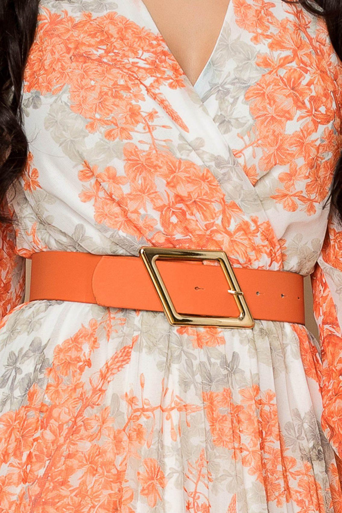 Πορτοκαλί Μίντι Πλισέ Φόρεμα Ingrid A310 3
