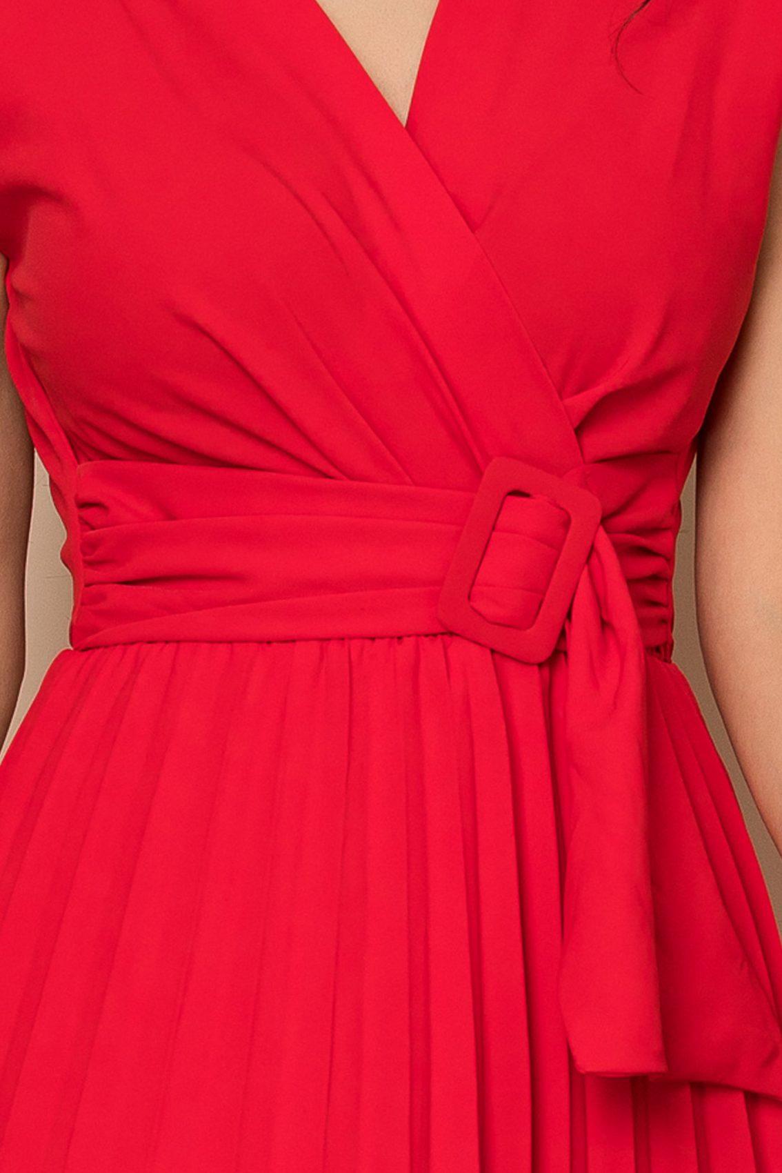 Κόκκινο Μίντι Φόρεμα Με Βάτες Carmen A406 3