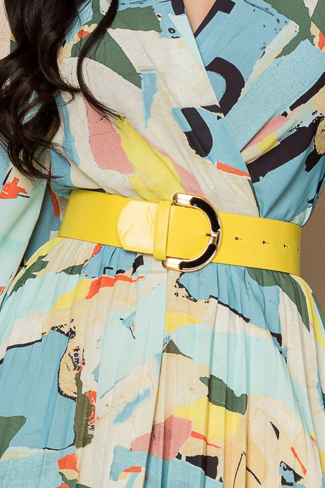 Εμπριμέ Φόρεμα Με Κίτρινη Ζώνη Malina A336 3