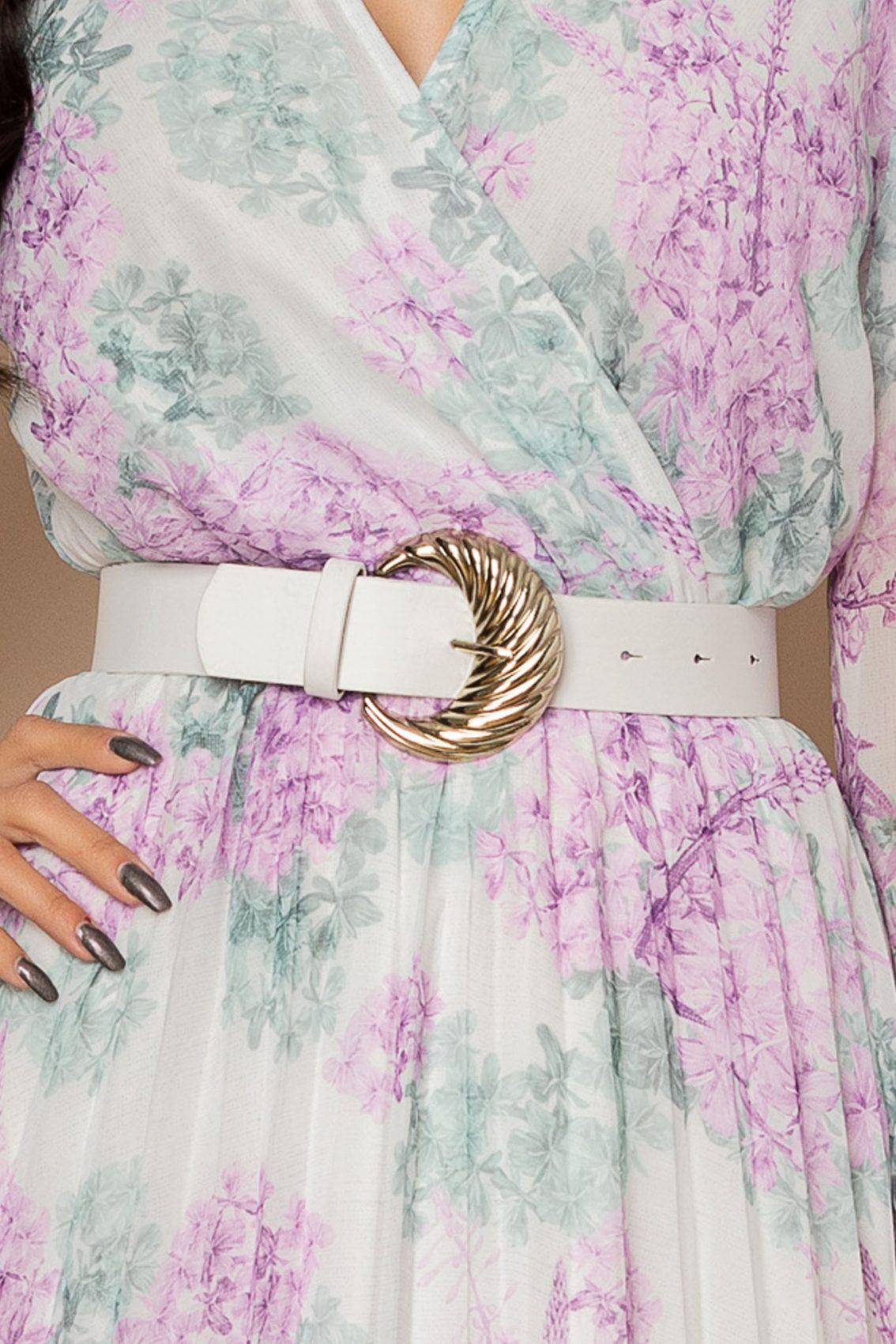 Λιλά Φλοράλ Πλισέ Φόρεμα Ingrid A272 3