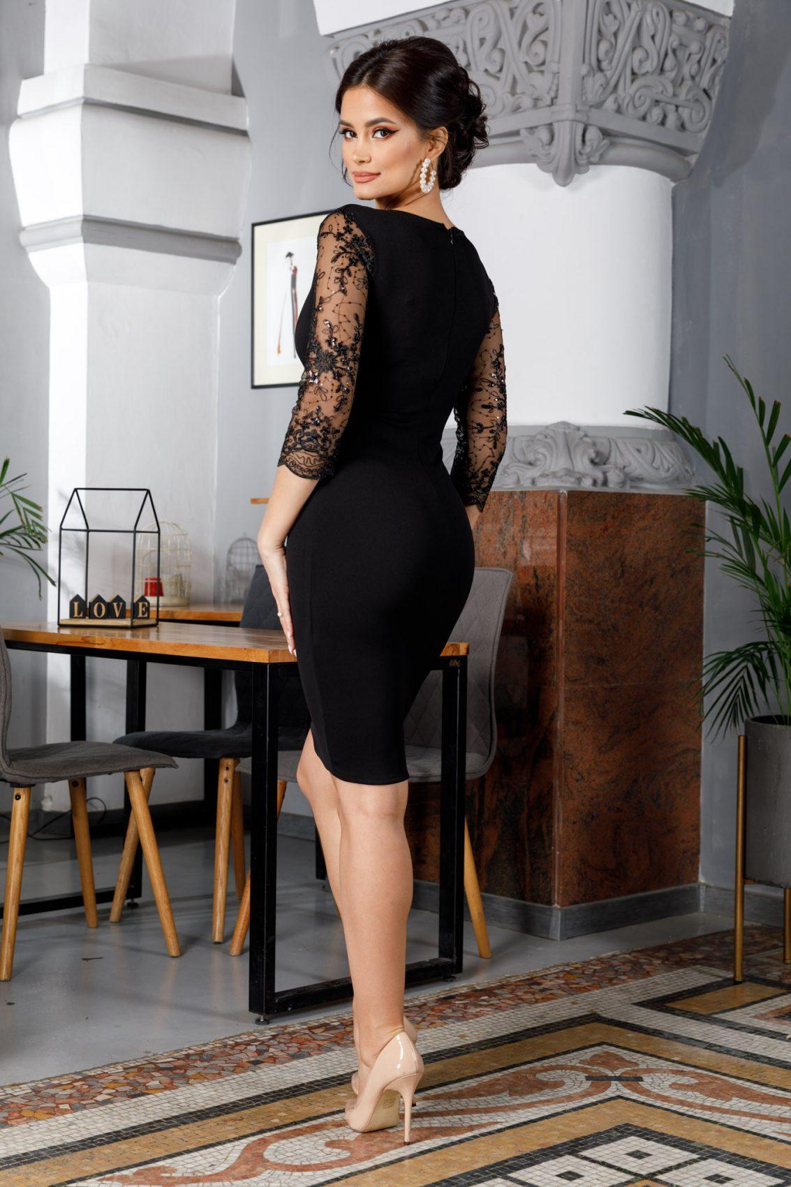 Μαύρο Κρουαζέ Φόρεμα Με Δαντέλα Verona B750 2