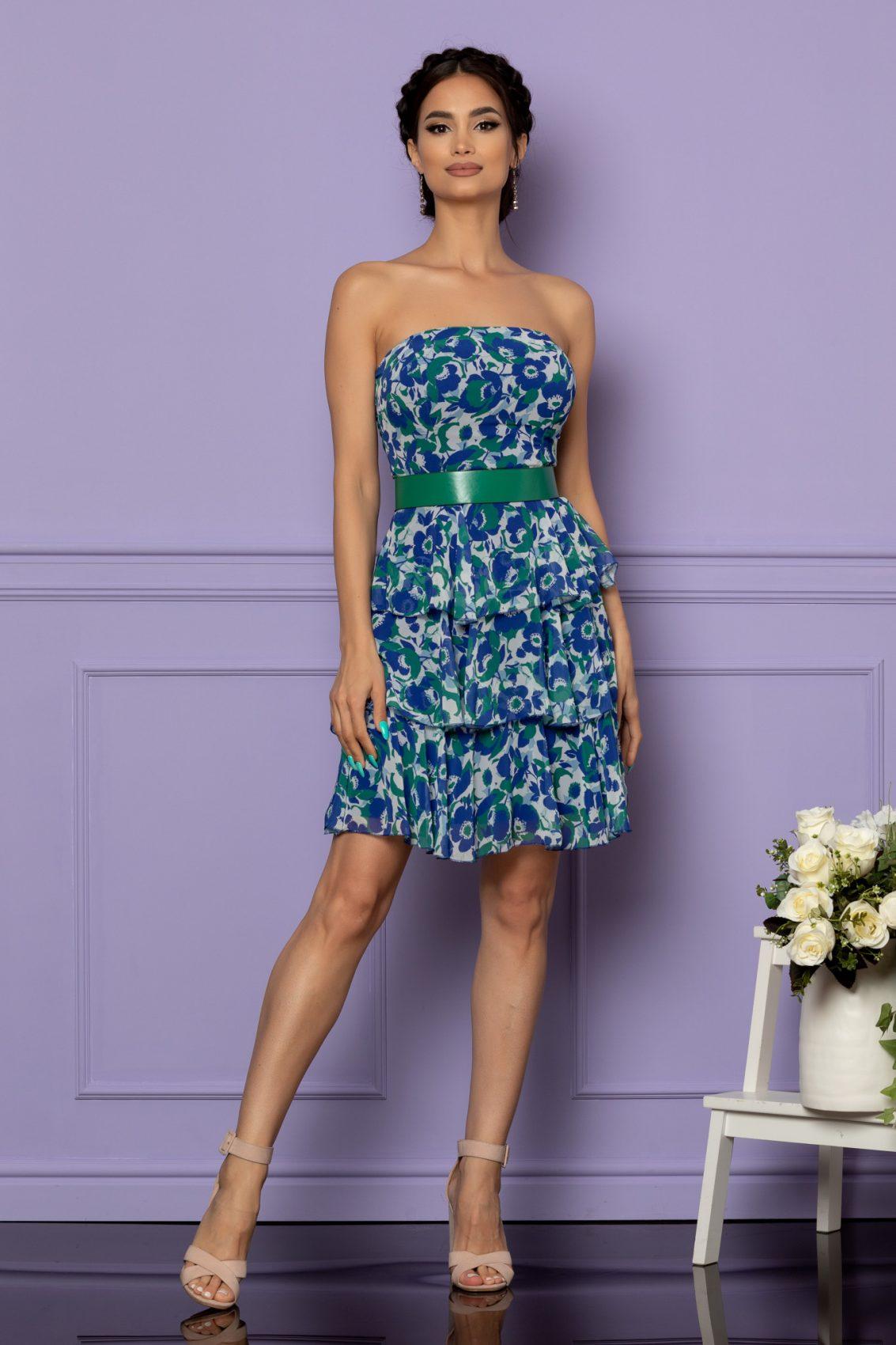 Μπλε Εμπριμέ Στράπλες Βραδινό Φόρεμα Anda A614 1