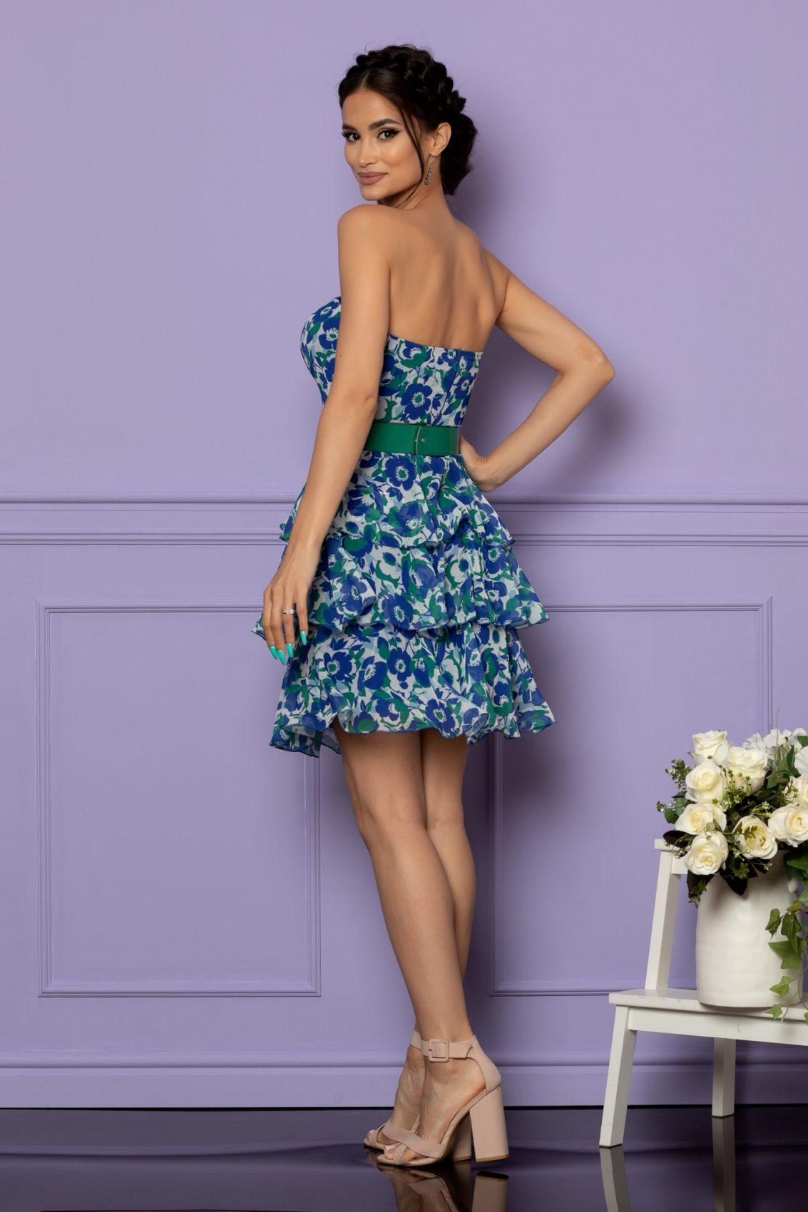 Μπλε Εμπριμέ Στράπλες Βραδινό Φόρεμα Anda A614 2