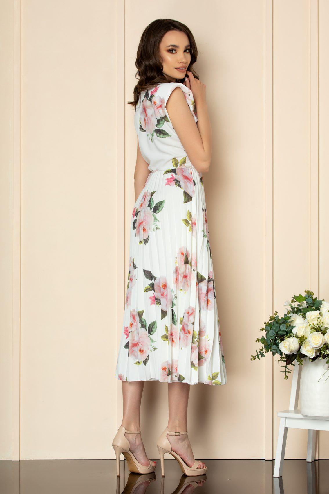 Λευκό Φλοράλ Φόρεμα Με Βάτες Carmen A587 2