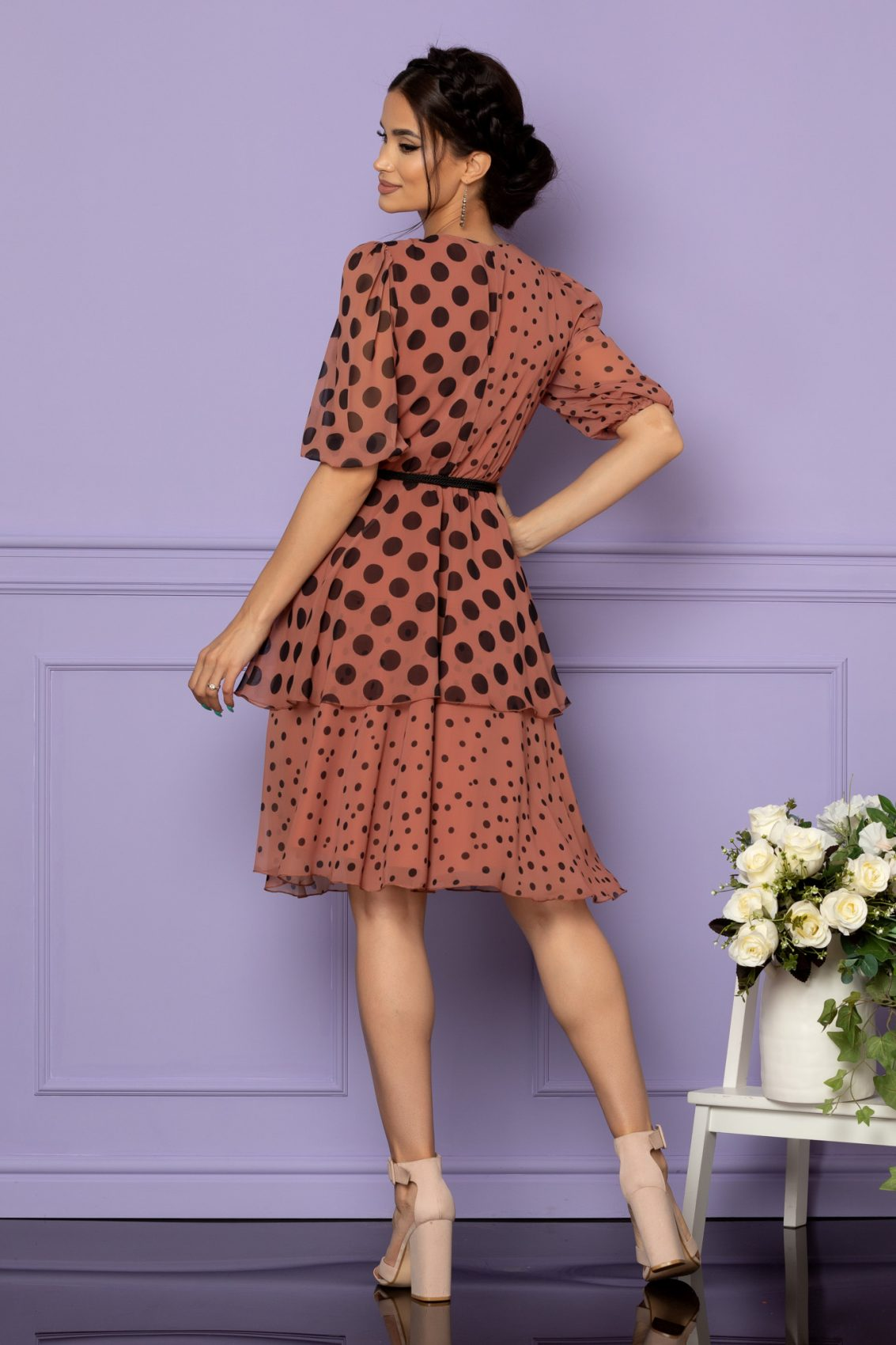 Καφέ Πουά Φόρεμα Larise A655 2