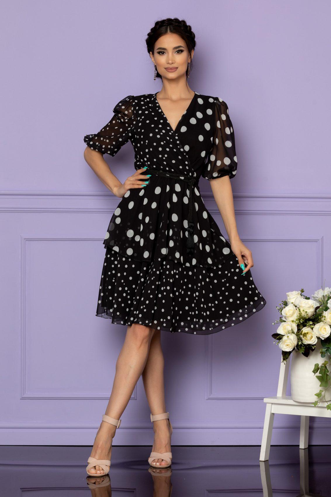 Μαύρο Πουά Φόρεμα Larise A657 1