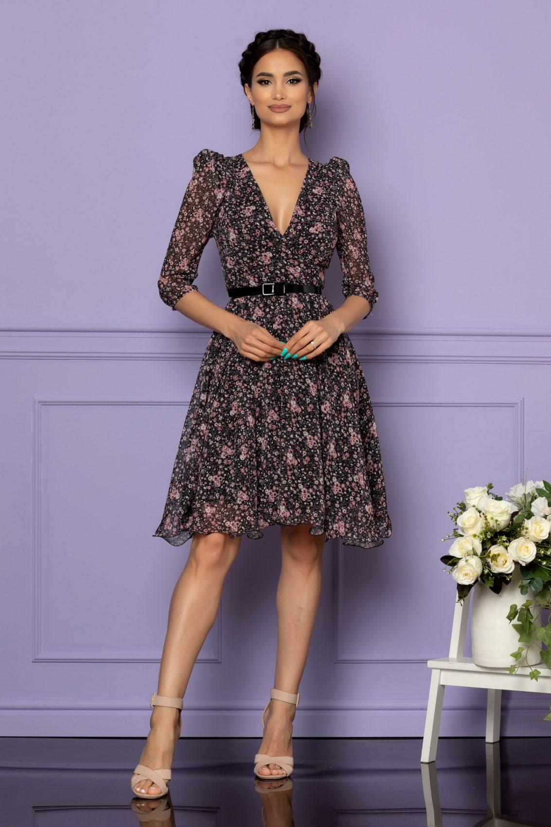 Μαύρο Εμπριμέ Κρουαζέ Φόρεμα Magda A247 1