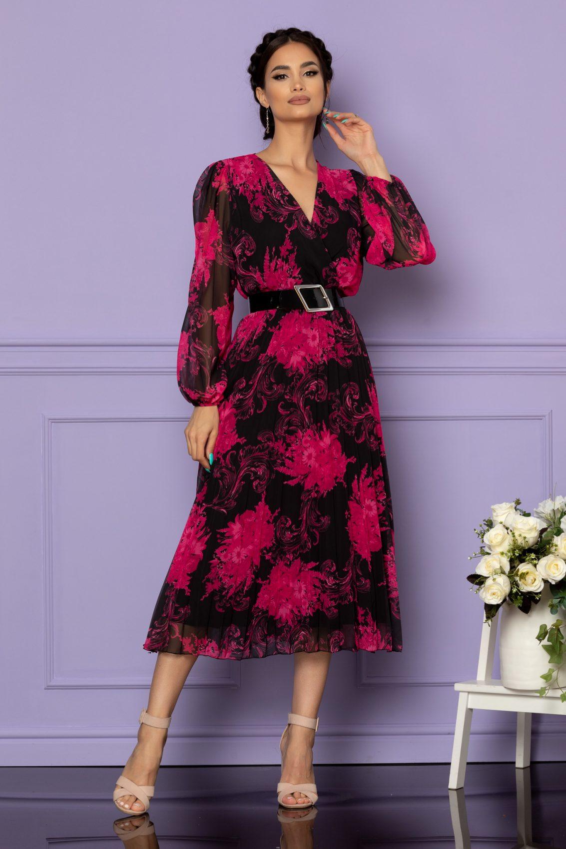 Φλοράλ Φόρεμα Μαύρο Ingrid A629 1