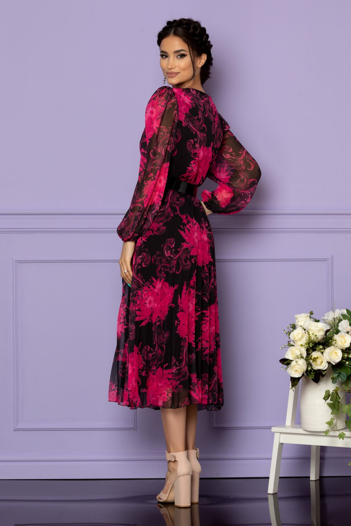 Φλοράλ Φόρεμα Μαύρο Ingrid A629 2