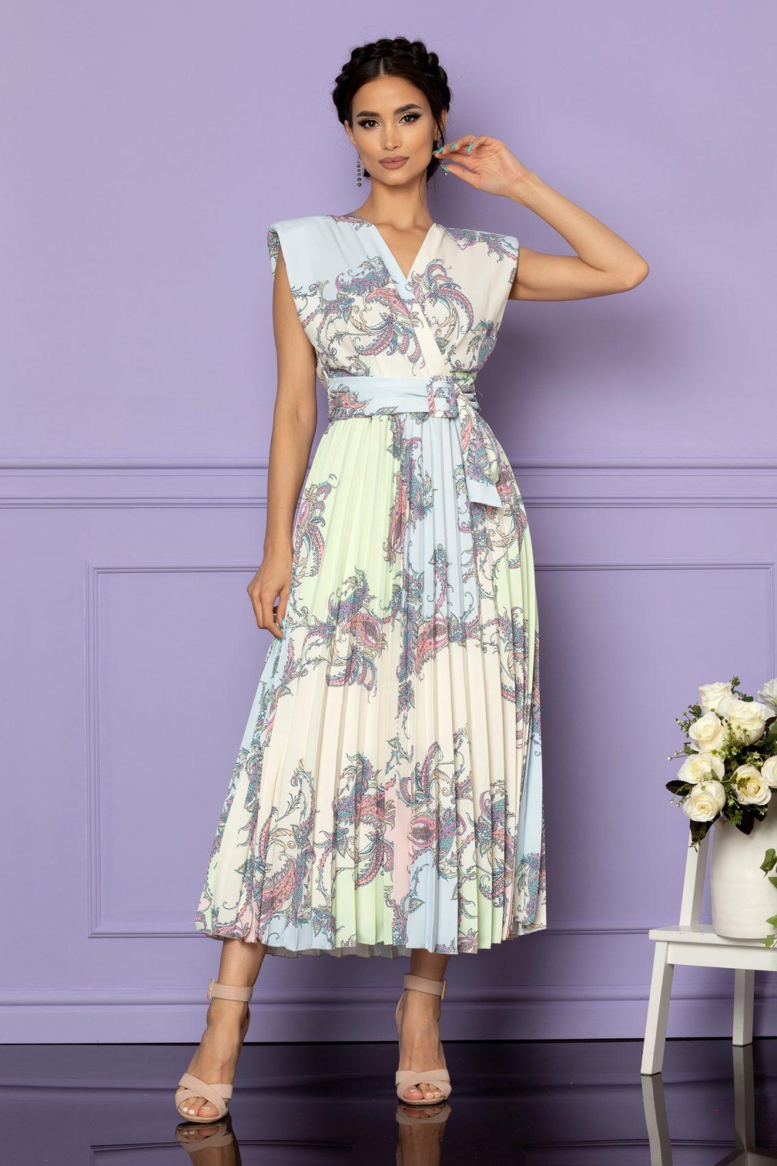 Εμπριμέ Παστέλ Φόρεμα Carmen A654 1