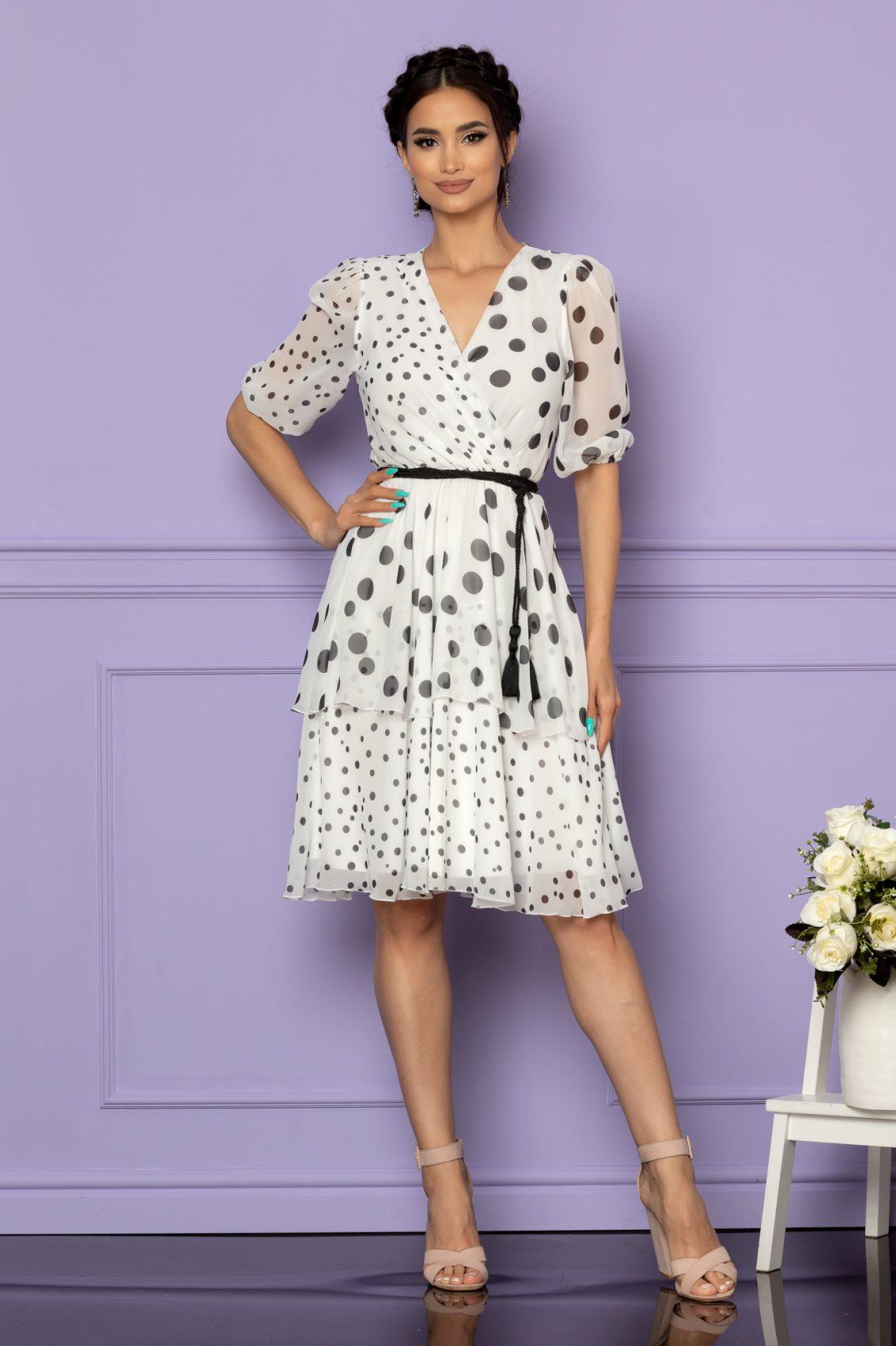 Λευκό Πουά Φόρεμα Larise A656 1