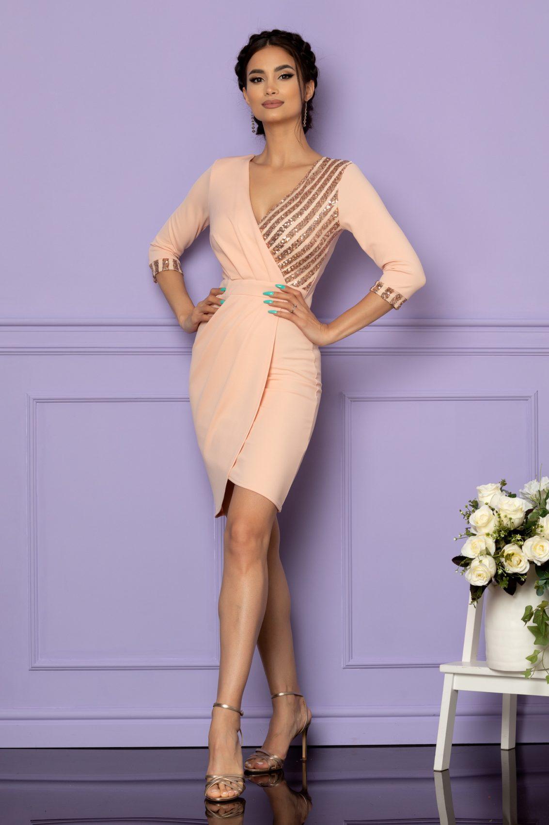 Ροζ Κρουαζέ Φόρεμα Με Πούλιες Timeea A667 1