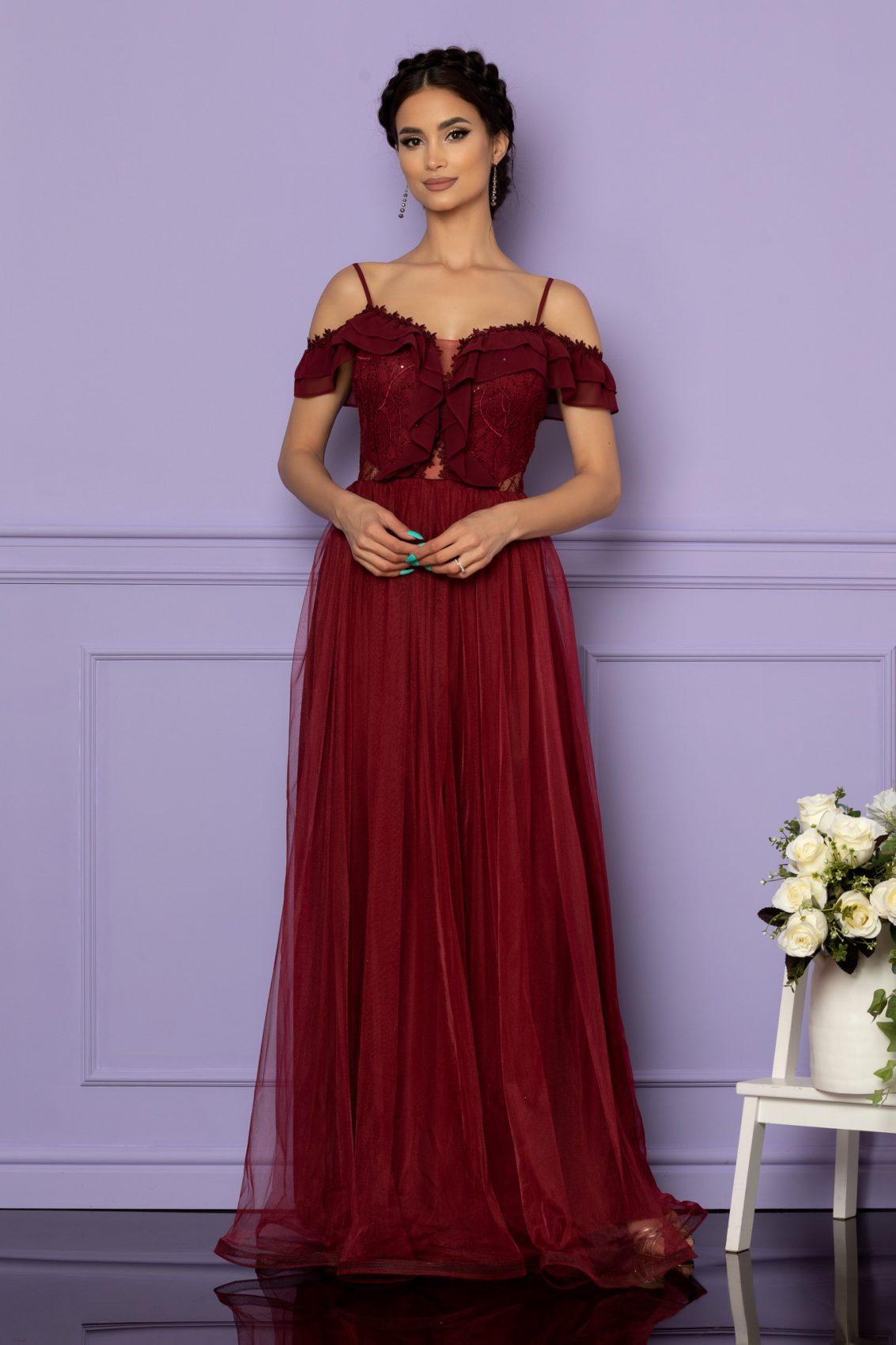 Μπορντό Μάξι Αμπιγιέ Φόρεμα Swing A643 1