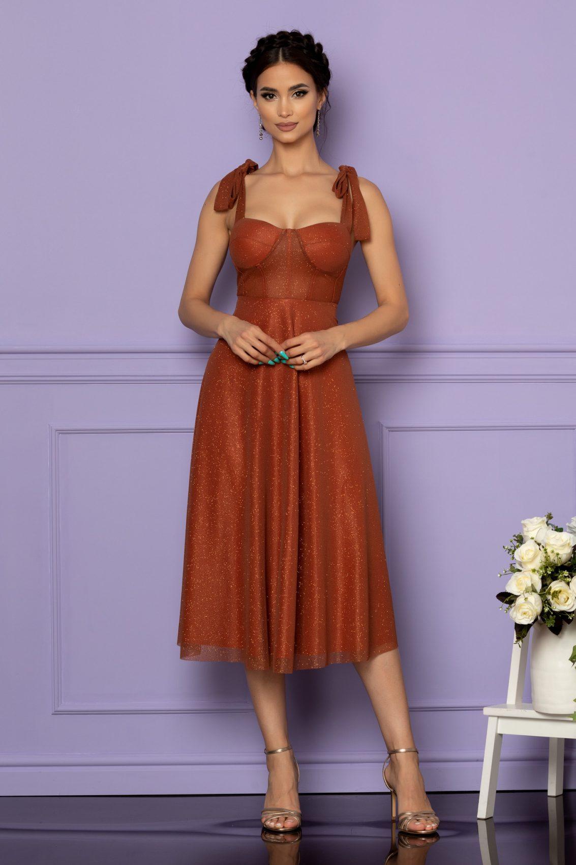 Κεραμιδί Μίντι Αμπιγιέ Φόρεμα Solange A636 1