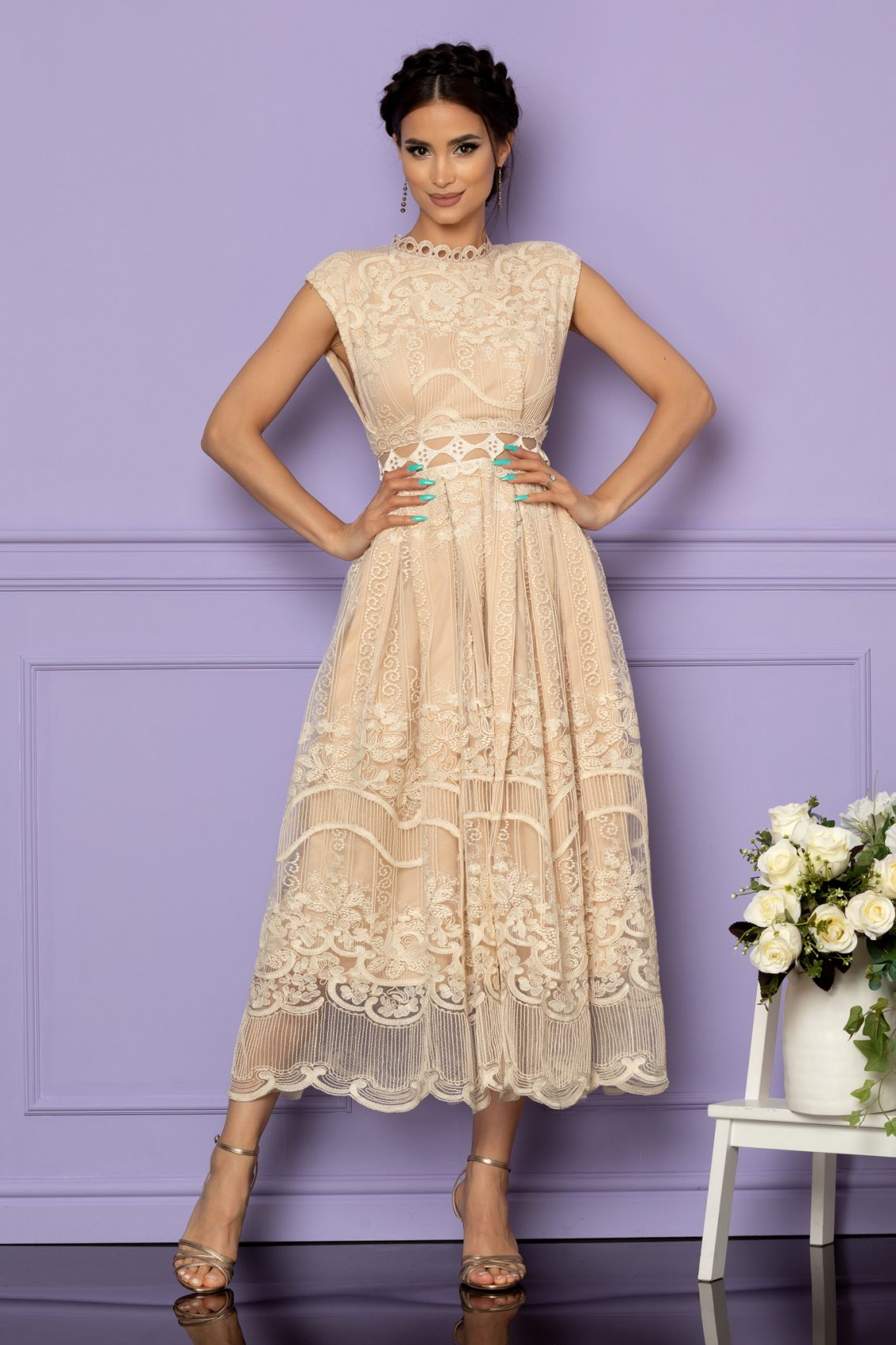 Nude Αμπιγιέ Φόρεμα Από Δαντέλα Valore A594 1