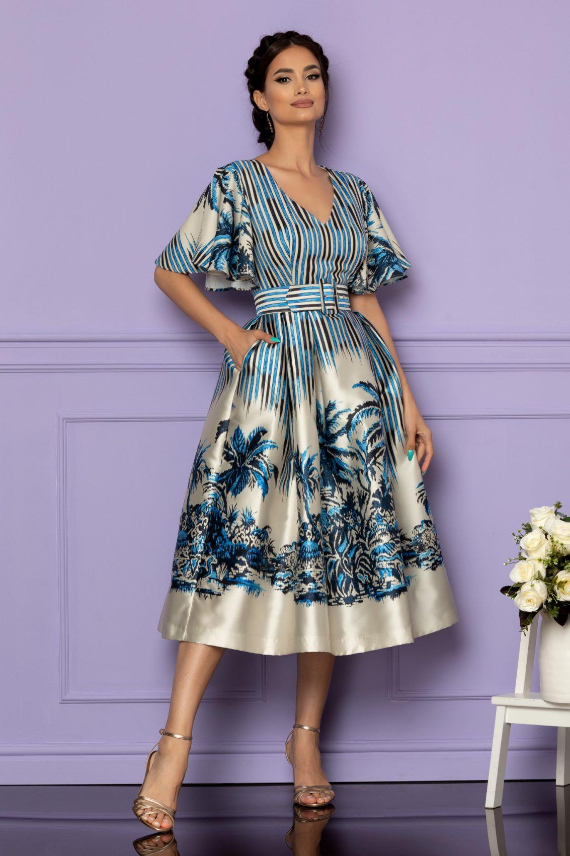 Μπλε Μίντι Αμπιγιέ Φόρεμα Francesca A608 1