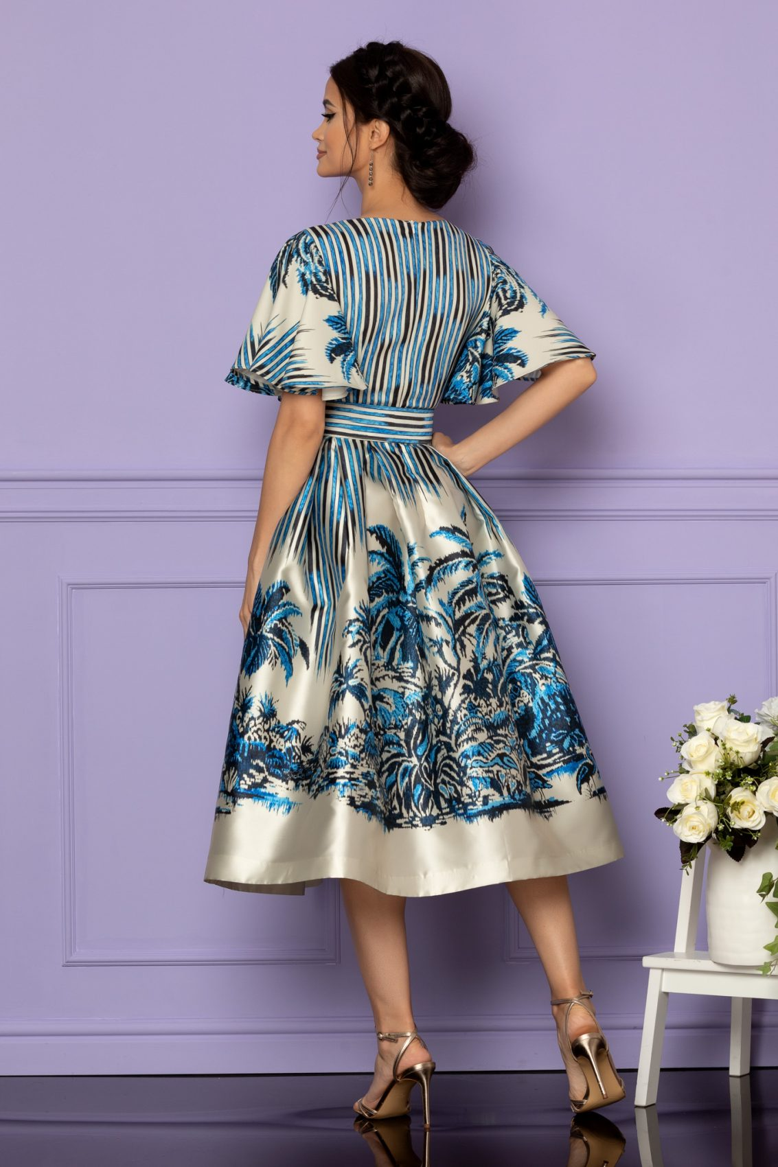 Μπλε Μίντι Αμπιγιέ Φόρεμα Francesca A608 2
