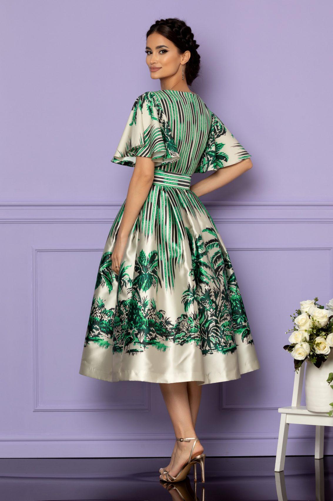 Πράσινο Μίντι Αμπιγιέ Φόρεμα Francesca A607 2