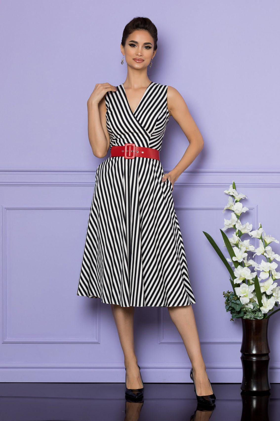 Ασπρόμαυρο Αμάνικο Ριγέ Φόρεμα Eralya A675 1